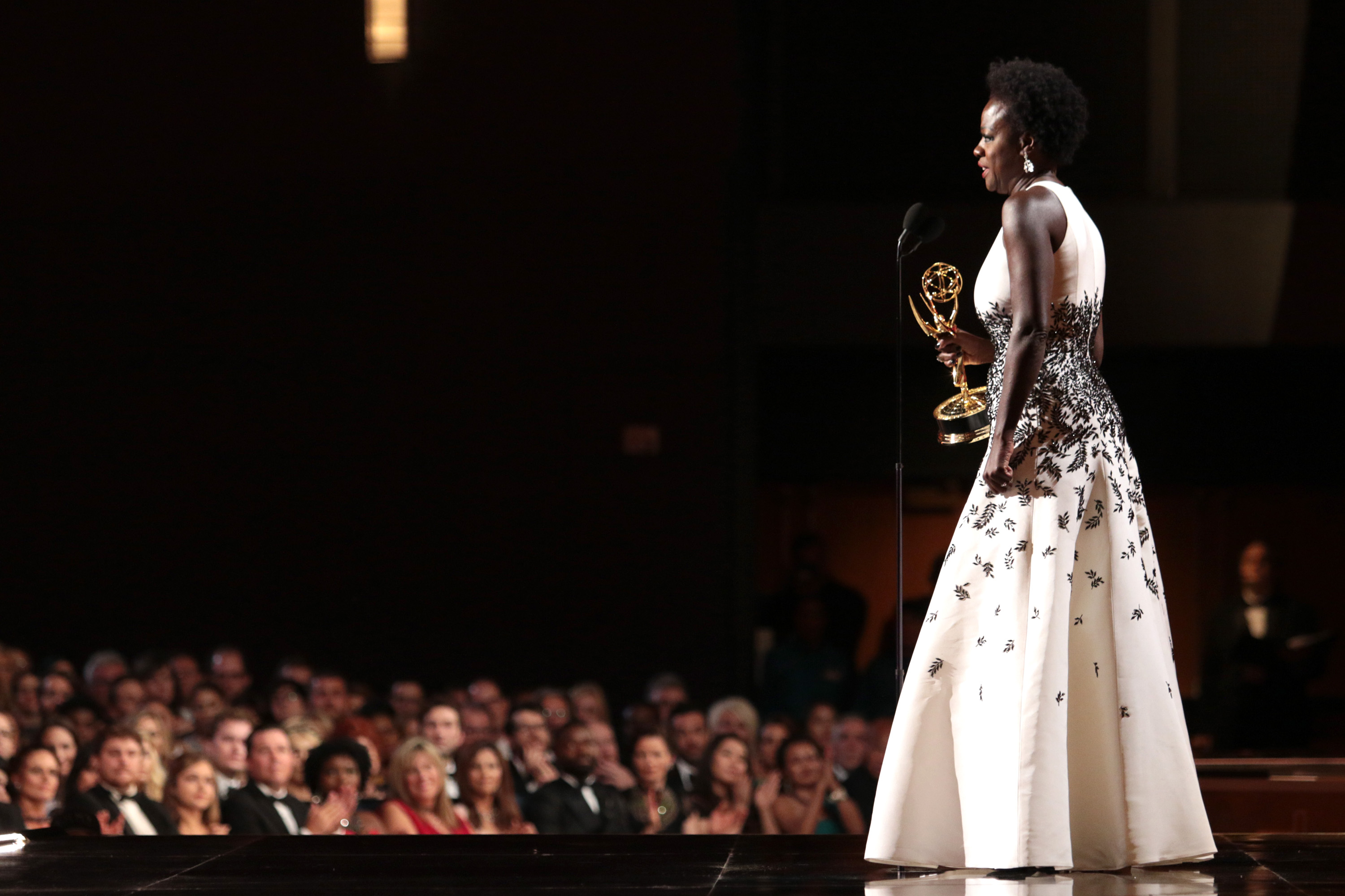 Viola Davis accepts the award for outstanding lead actress in a drama series for How to Get Away With Murder at the 67th Primetime Emmy Awards on Sept. 20, 2015, in Los Angeles.