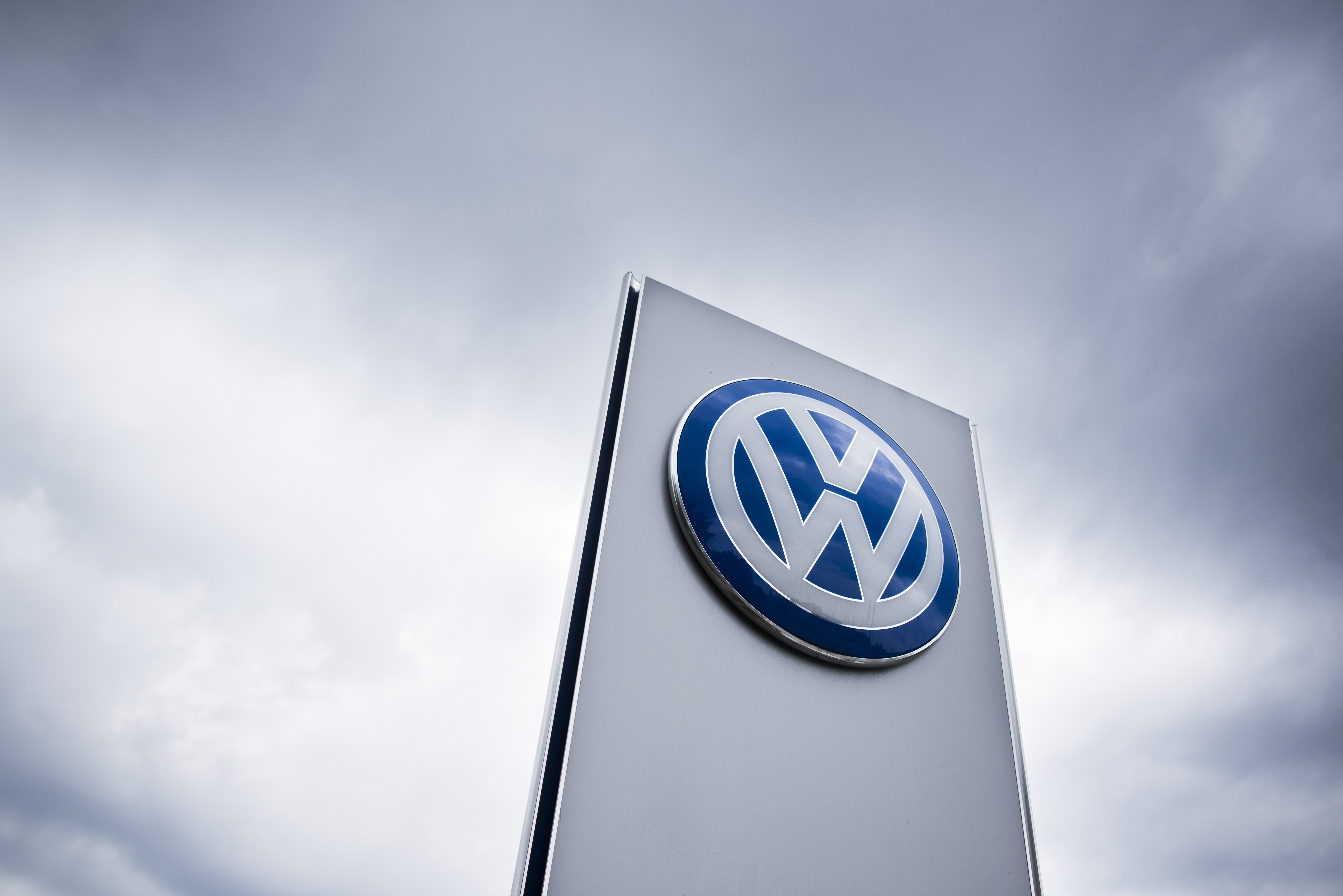The Volkswagen logo is seen at a Volkswagen dealer in Berlin on Sept. 22, 2015.