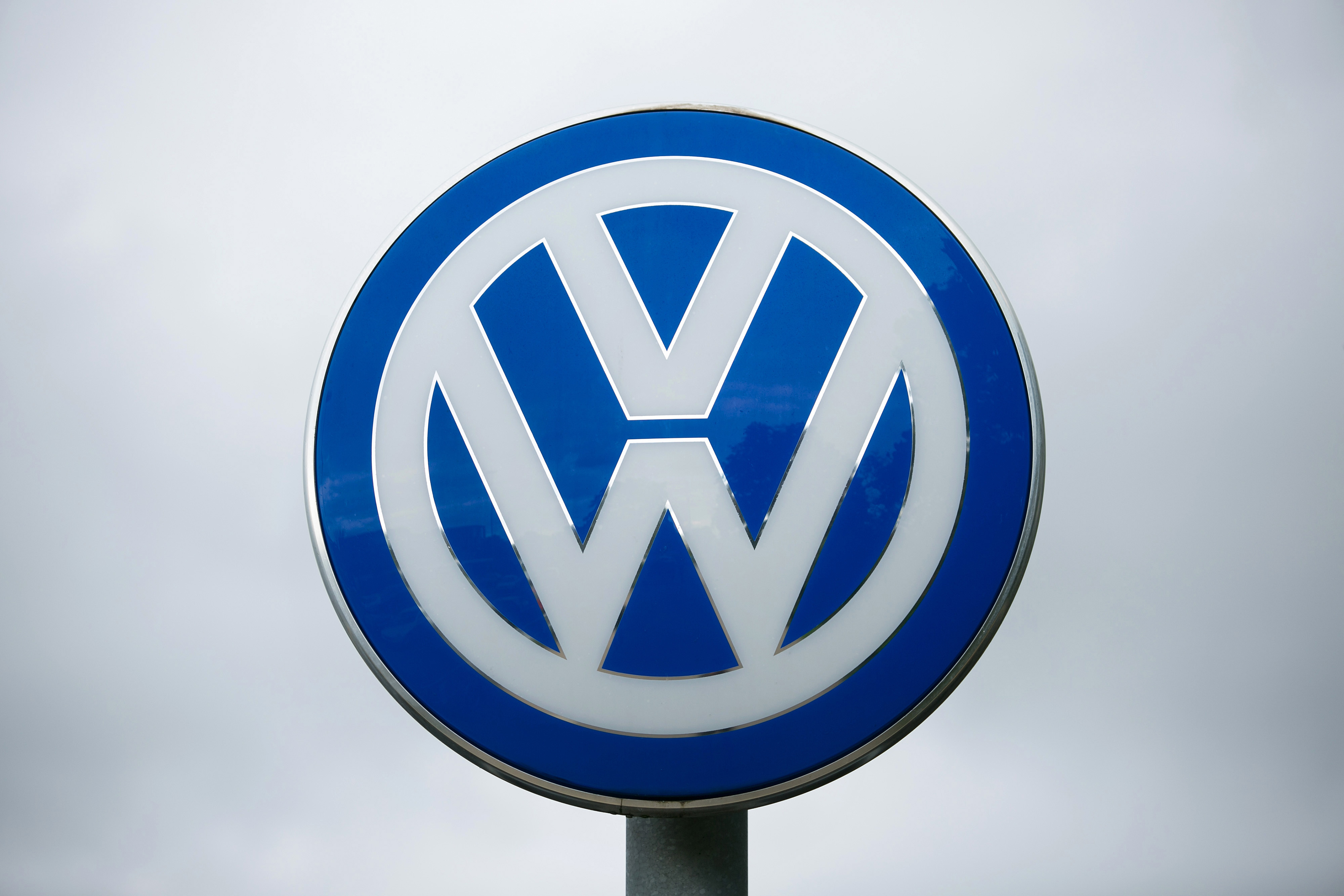 The VW logo outside the Volkswagen headquarters in Wolfsburg, Germany on Sept. 23, 2015.