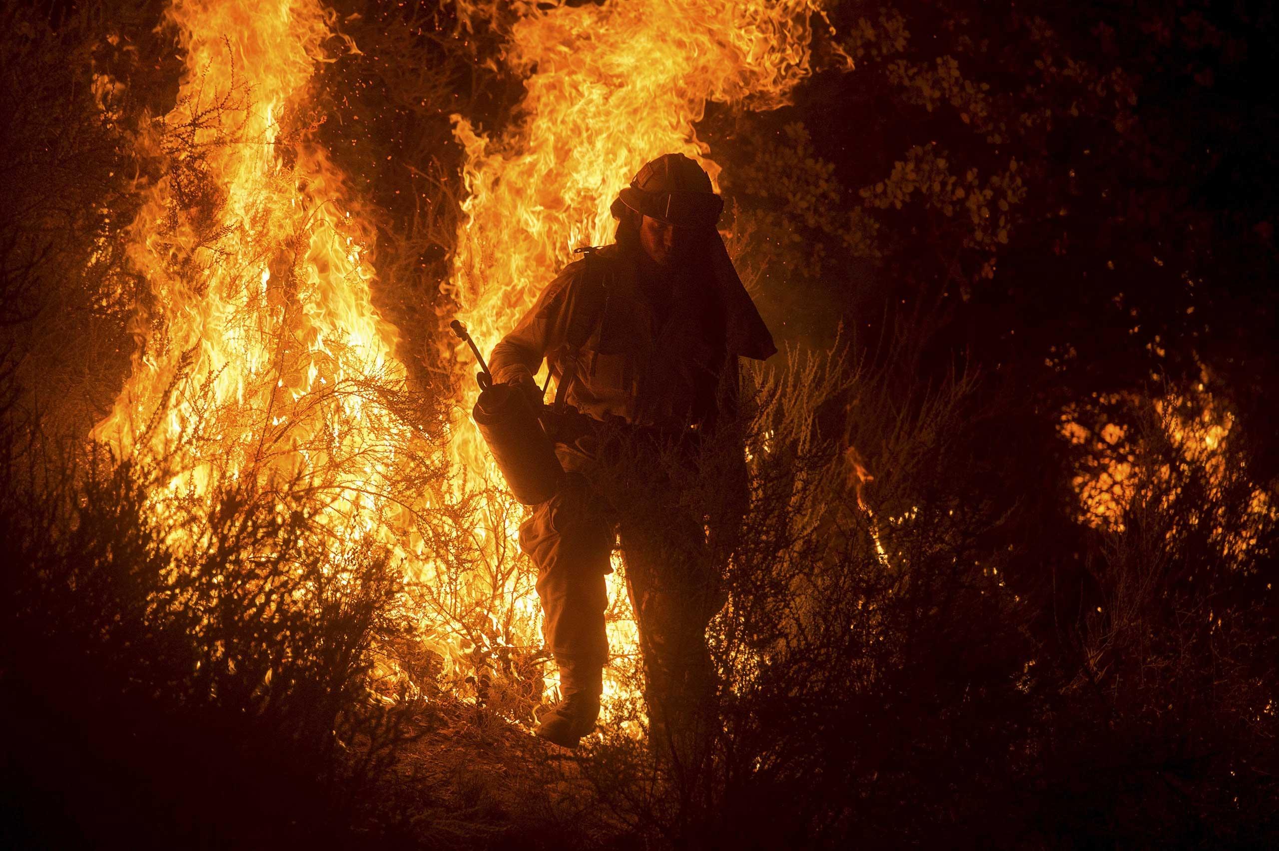 A firefighter lights a backfire while battling the Butte fire near San Andreas, California September 12, 2015.