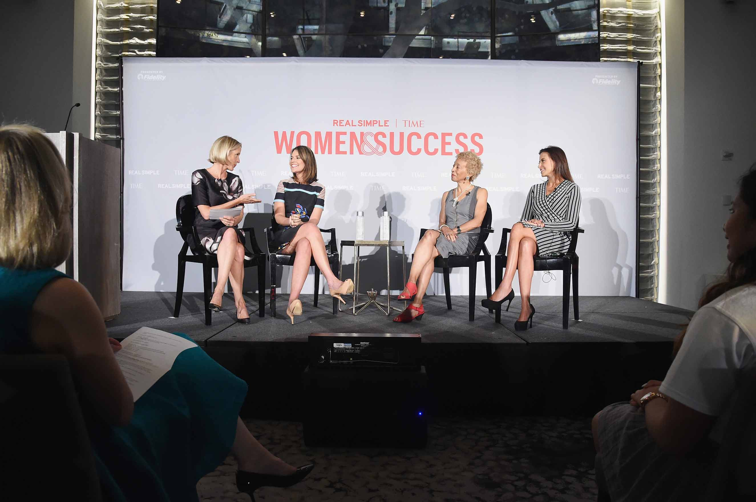 From left: Editor of Real Simple Kristin van Ogtrop, TV correspondent Savannah Guthrie, writer Margo Jefferson, and Dina Powell of Goldman Sachs take part in TIME And Real Simple's Annual Women &; Success Event at Park Hyatt Hotel New York City on Sept. 17, 2015.