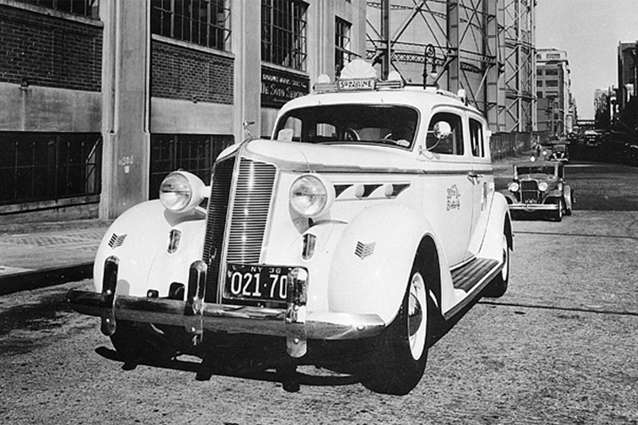 "Nicknamed the ""Sunshine"" cab, taxis with a European-style sun roof were put into service in New York, June 19, 1936. The new fleet was the largest single order for new taxicabs in history."