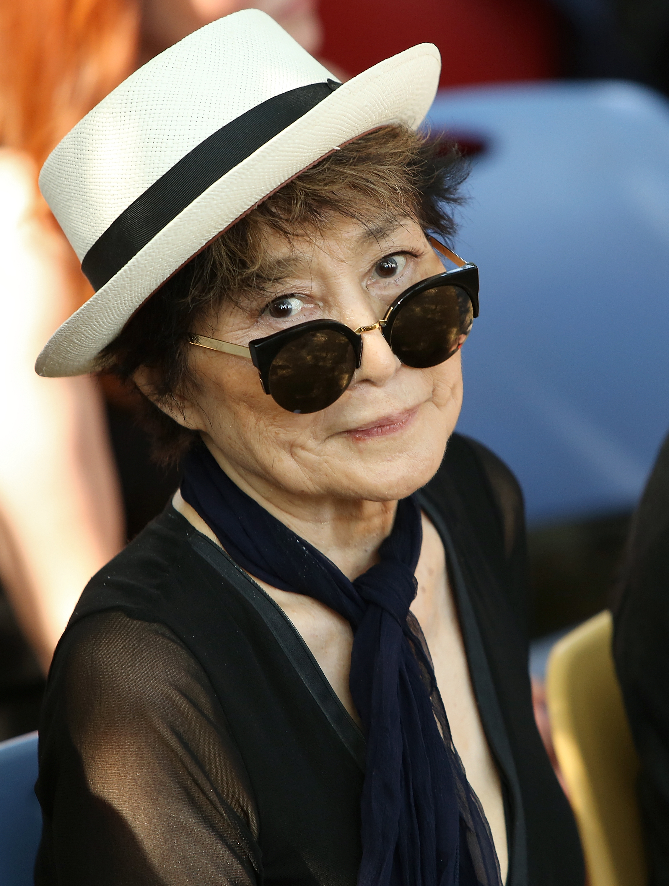 Yoko Ono attends the Amnesty International Tapestry Honoring John Lennon Unveiling on July 29, 2015 in New York City.