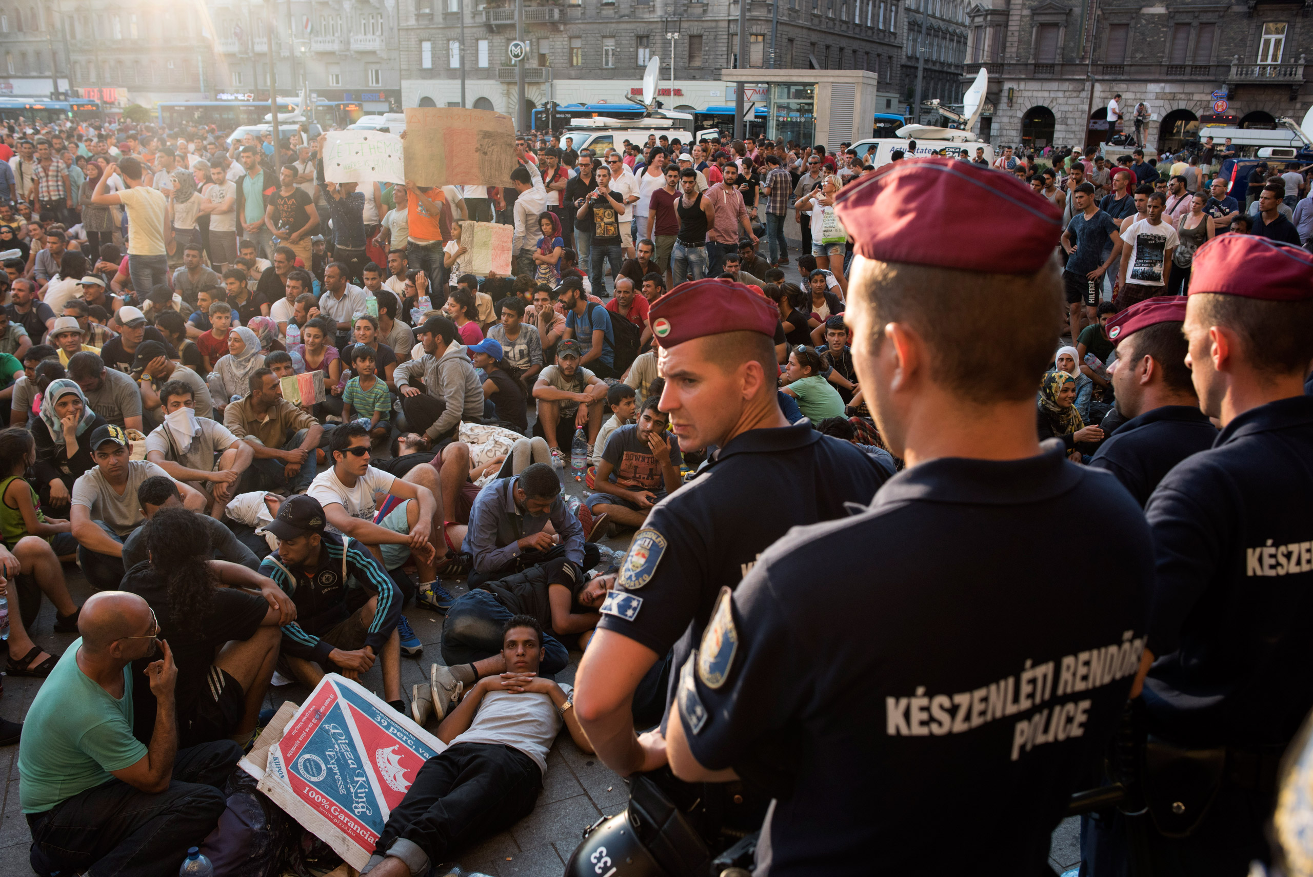Migrants protesting as the Keleti train station in Budapest was temporarily closed, on Sept. 1, 2015.