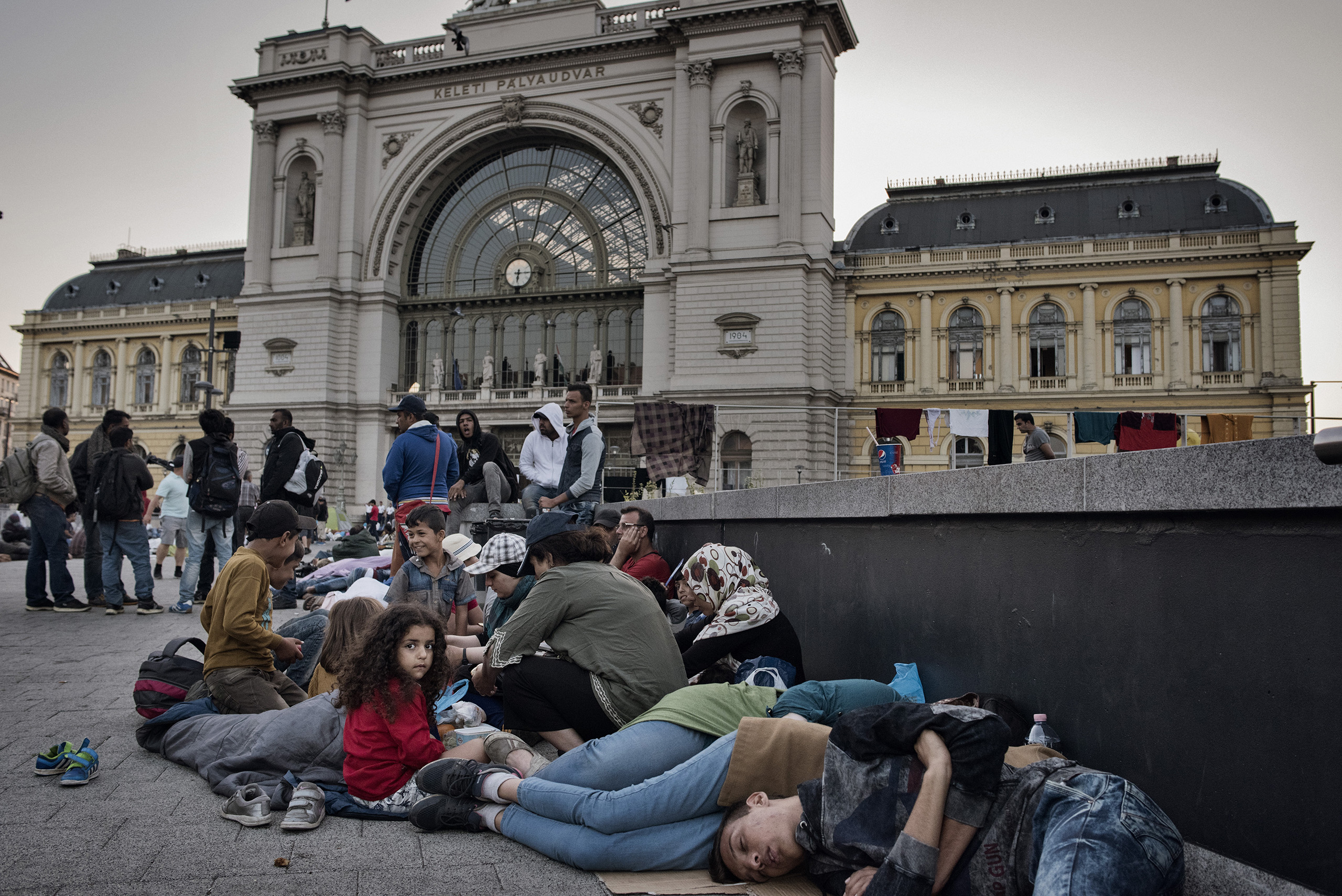 Hungary's Budapest-Keleti railway station became a temporary camp for refugees.