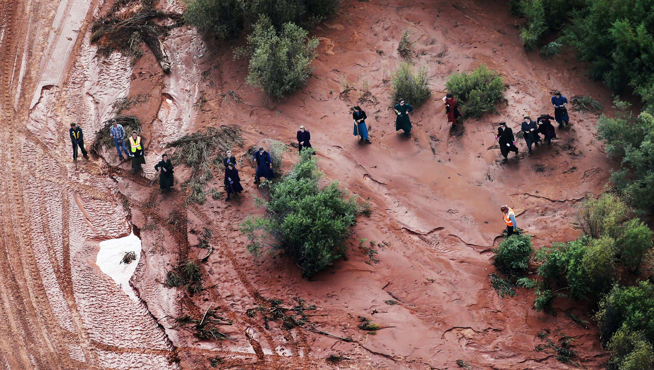 In this aerial photo searchers continue looking for 6-year-old Tyson Lucas Black on Sept. 16, 2015 in Zion National Park, Utah
