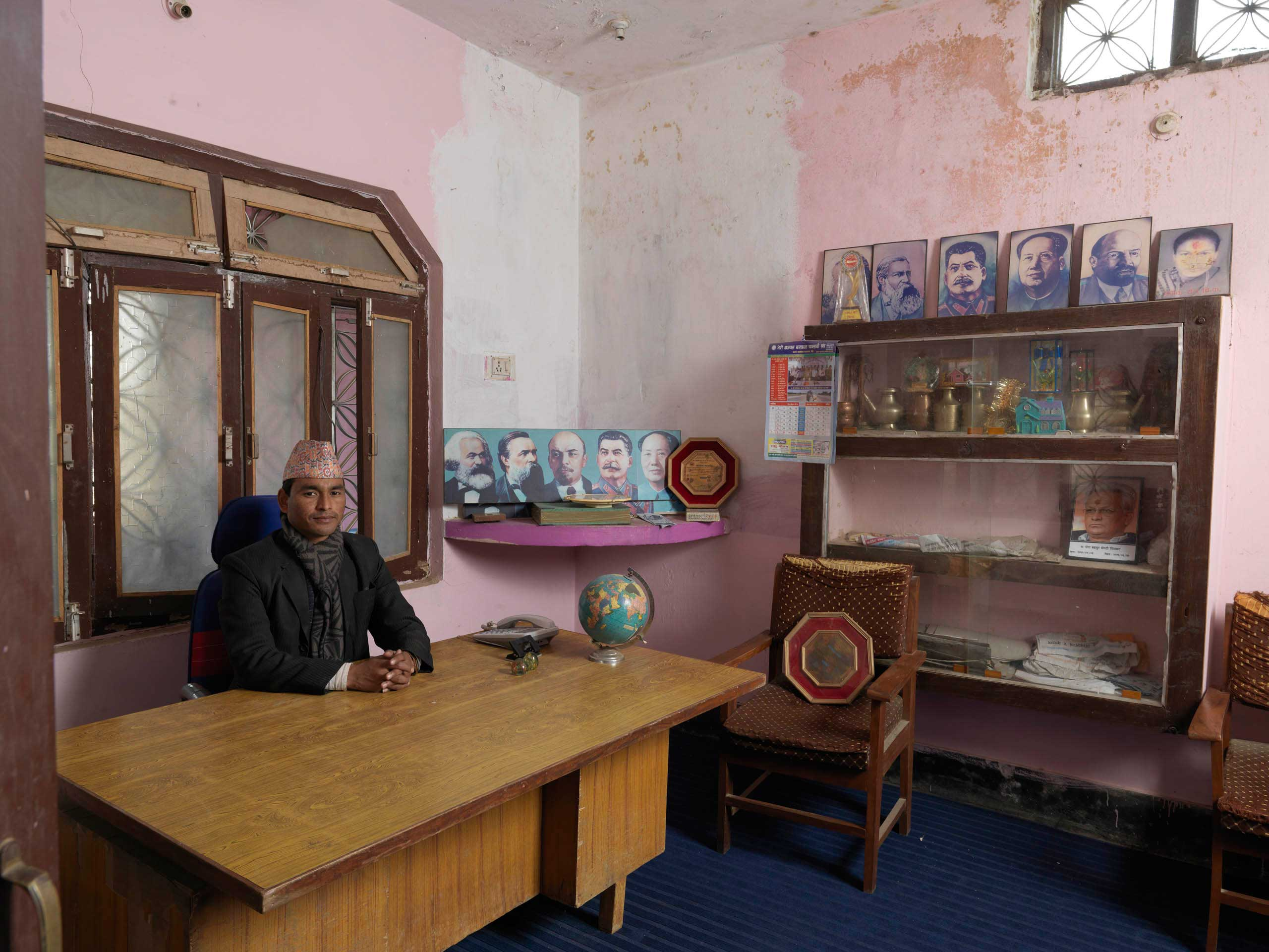 District chairman Akal Bahadur Bam  Rabindra  in his UCPN-M (Maoist) district office in Nepalgunj city, Nepal. UCPN-M came in 3rd (after Nepali Congress and UML) in 2013 elections, with 80 of 575 elected seats.