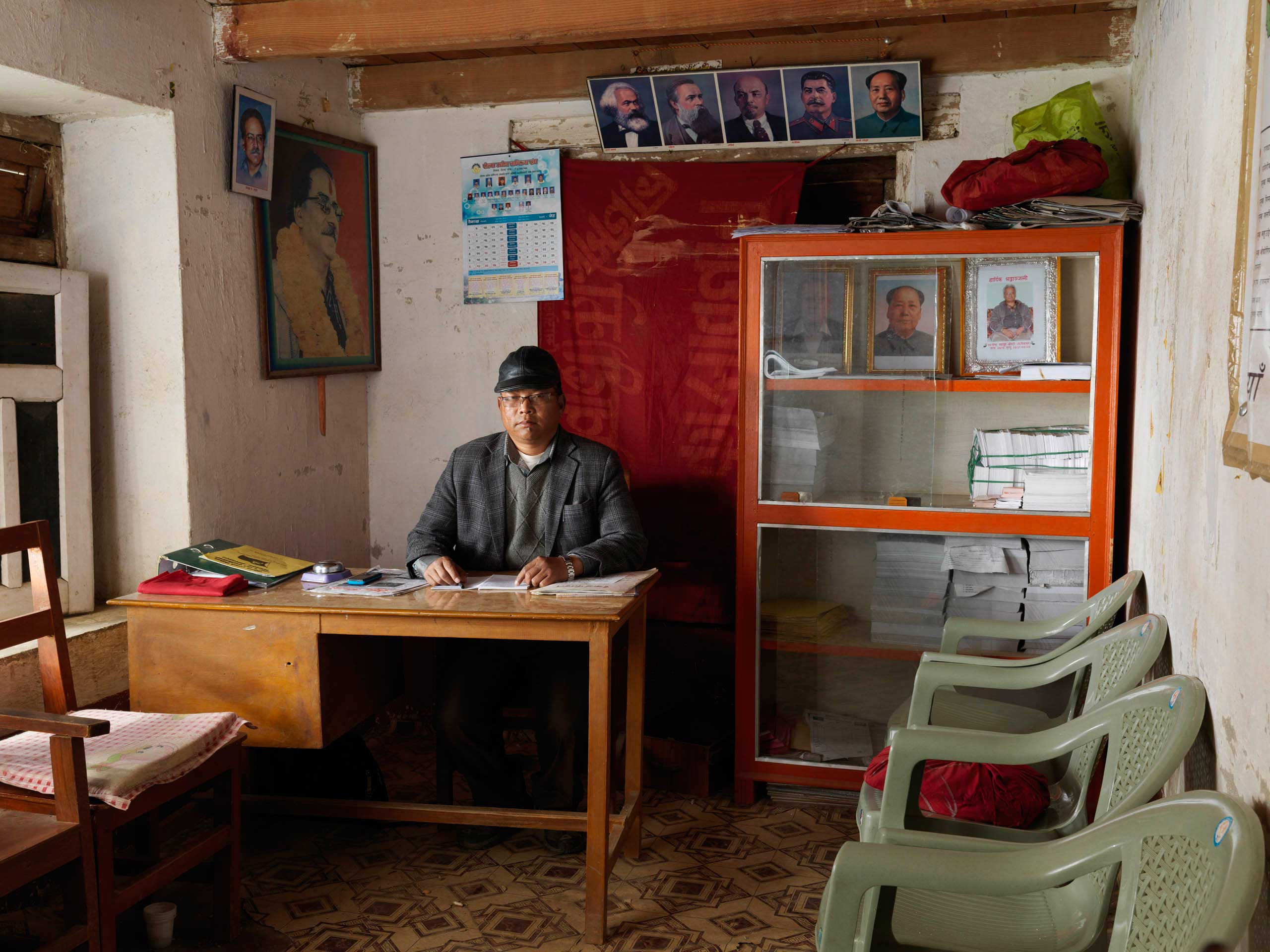 Chairman Surendra Thapa Gharti, aka  Dhruba,  in the UCPN-M (Maoists), district office in Libang, district Rolpa, in Nepal. Rolpa was the district where the Maoist uprising started in 1996. UCPN-M came in 3rd (after Nepali Congress and UML) in 2013 elections, with 80 of 575 elected seats.