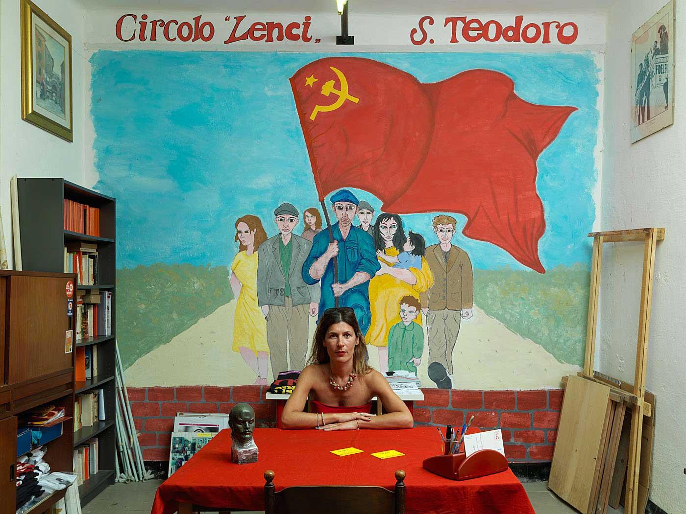 Party militant Laura Vari in the Partito Rifondazione Comunista (PRC) office in San Teodoro in Genoa, Italy.