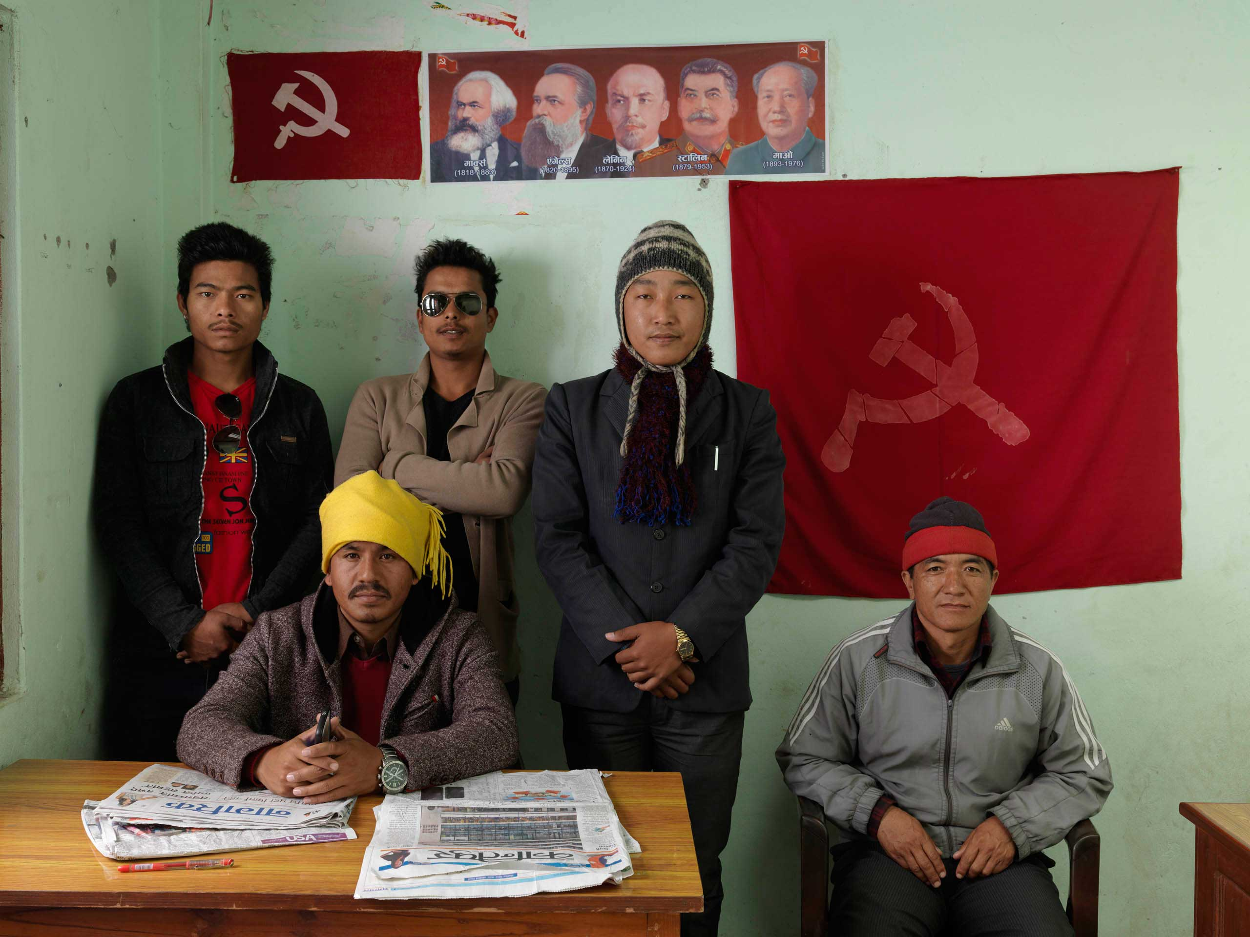 The Constituency Incharge, three members of the youth wing, and a journalist/editor of a pro-party newspaper in the CPN-Maoist (Baidya) district contact office in Pokhara, Kaski district. Baidya's party broke away from the main UCPN Maoists in 2012. It refused to participate in the 2013 elections or take up any seats in the second Constituent Assembly.