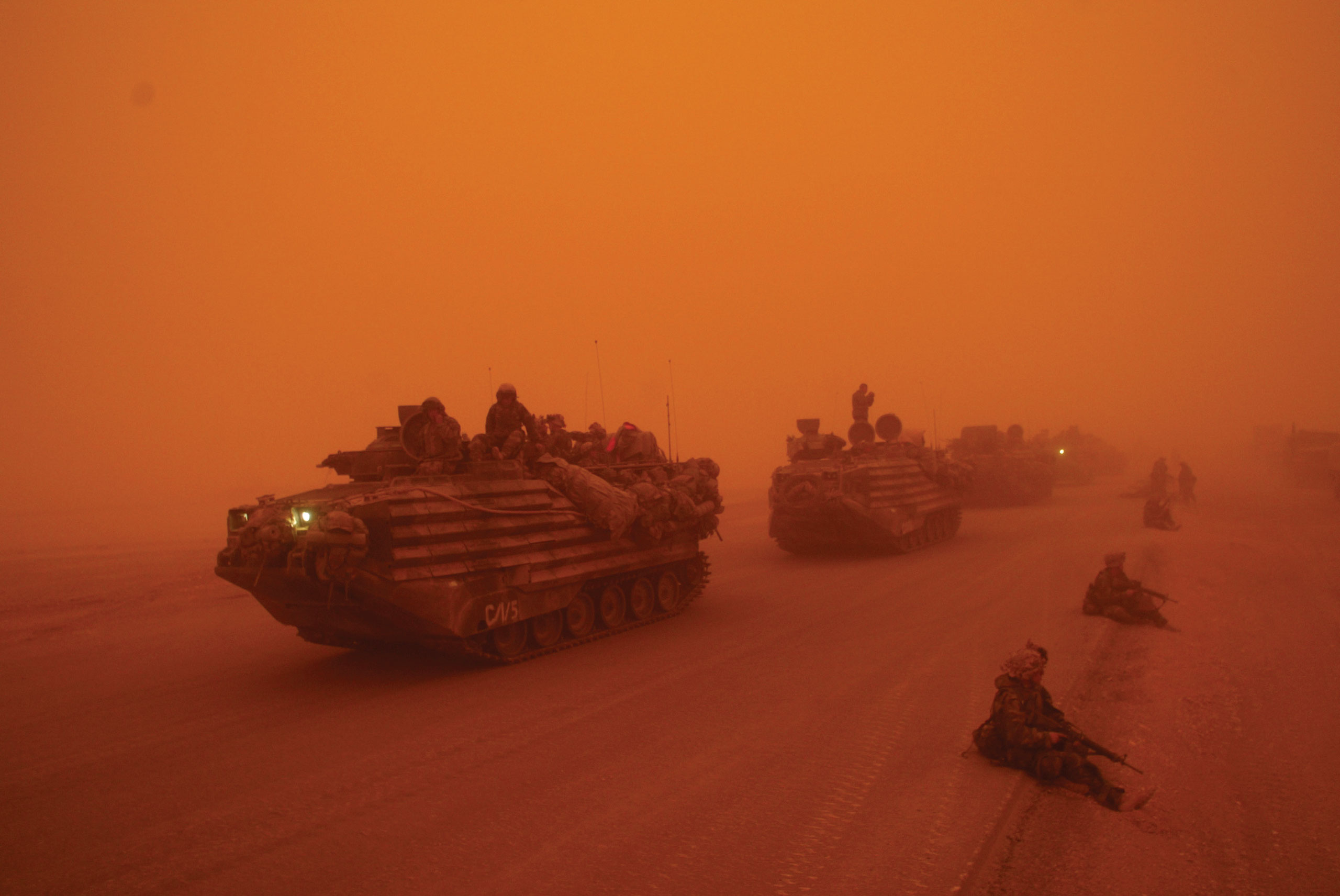 A severe sandstorm blanketed a convoy from the Headquarters Battalion of the 1st Marine Division north of the Euphrates River in Iraq, on March 25, 2003.