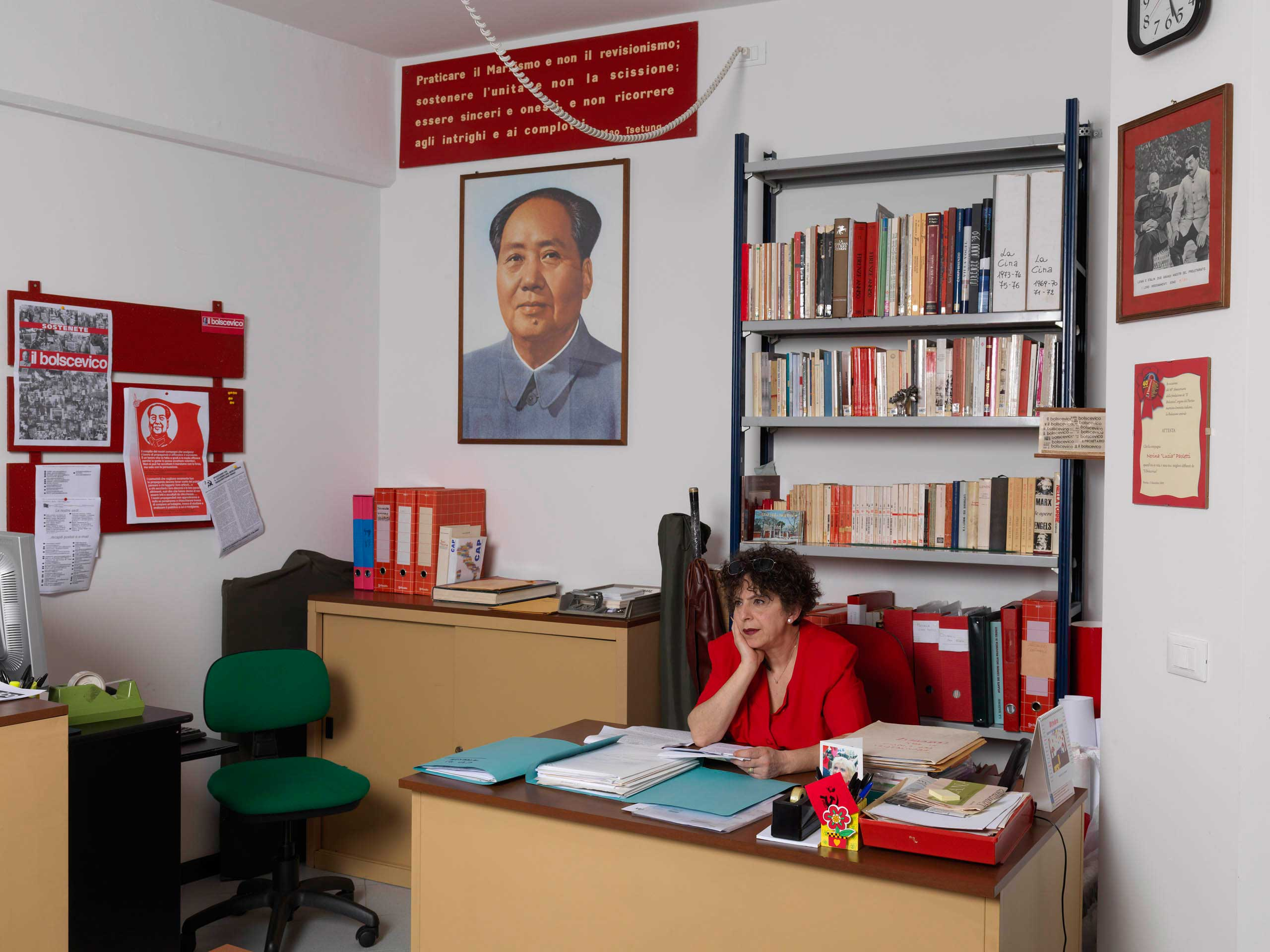 Cinzia, a member of the  Nerina 'Lucia' Paoletti,  party in the Italian Marxist-Leninist Party headquarters in Florence, Italy.