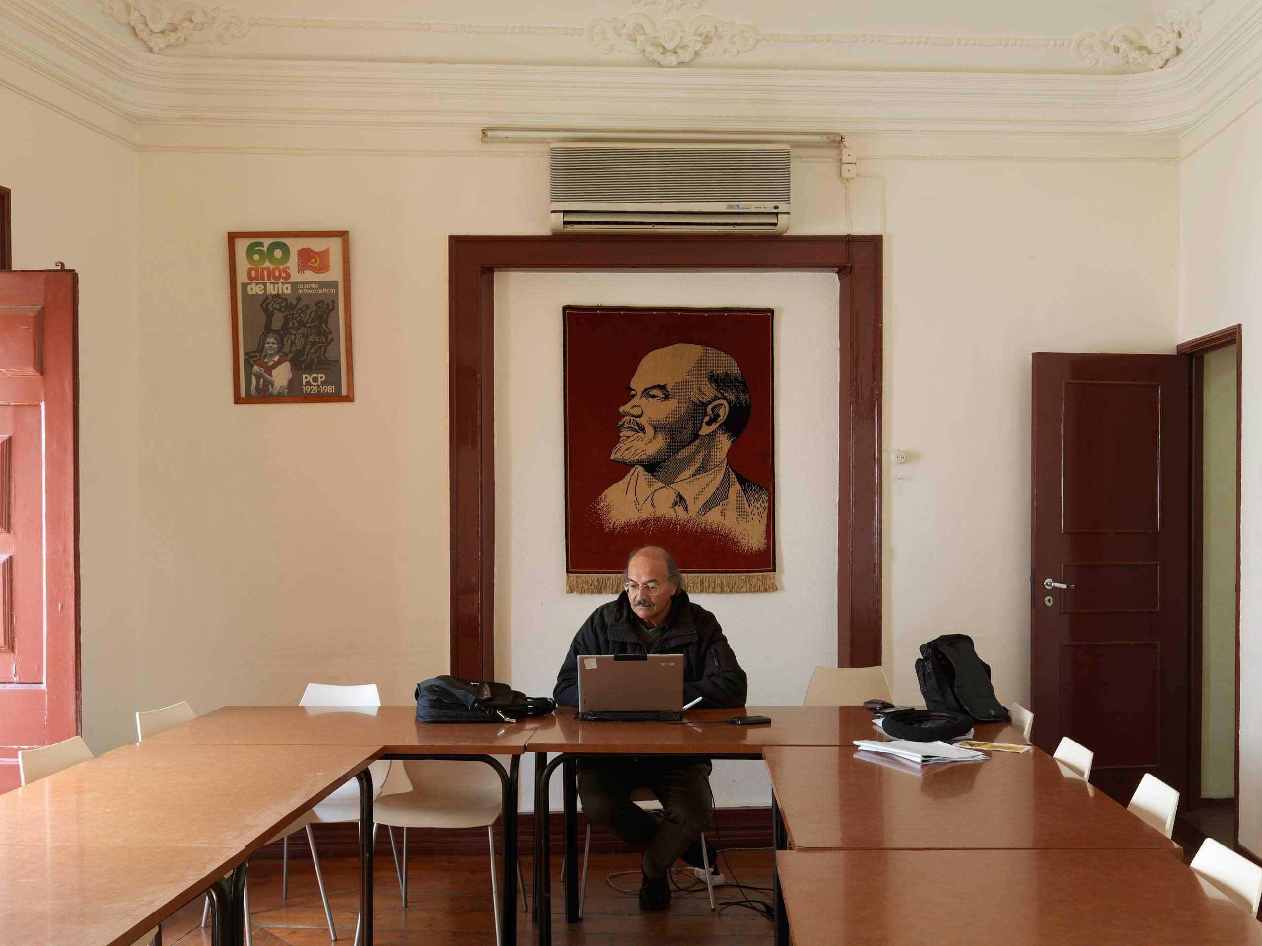 Antonio Gavela, member of the  Commisao Concelha do PCP Evora.  sits in the PCP office in Evora in Alentejo, Portugal. it is the former hardcore area of Reforma Agraria.