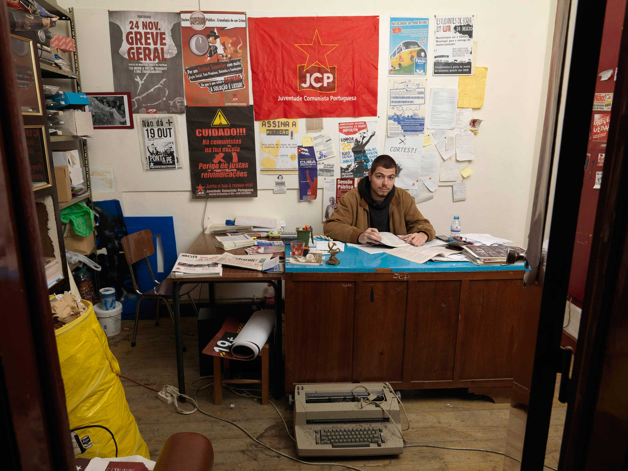 Pedro Grego, who is  responsible for the district,  in the PCP office in Evora, Portugal.