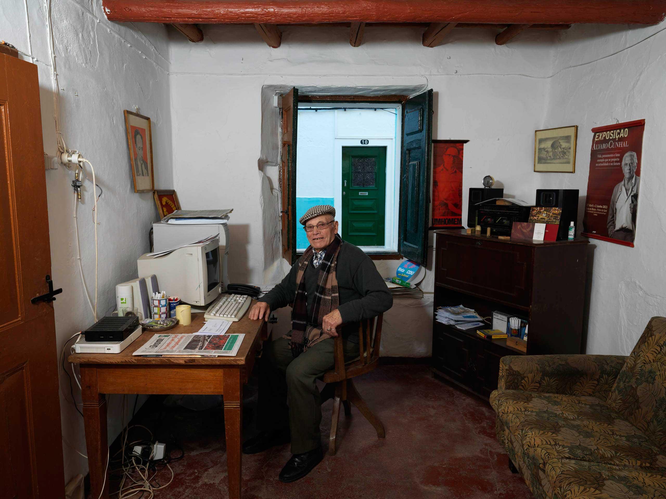 Portuguese Communist Party (PCP) militant Rodrigo Jose de Silva in the PCP office in Borba, Portugal.