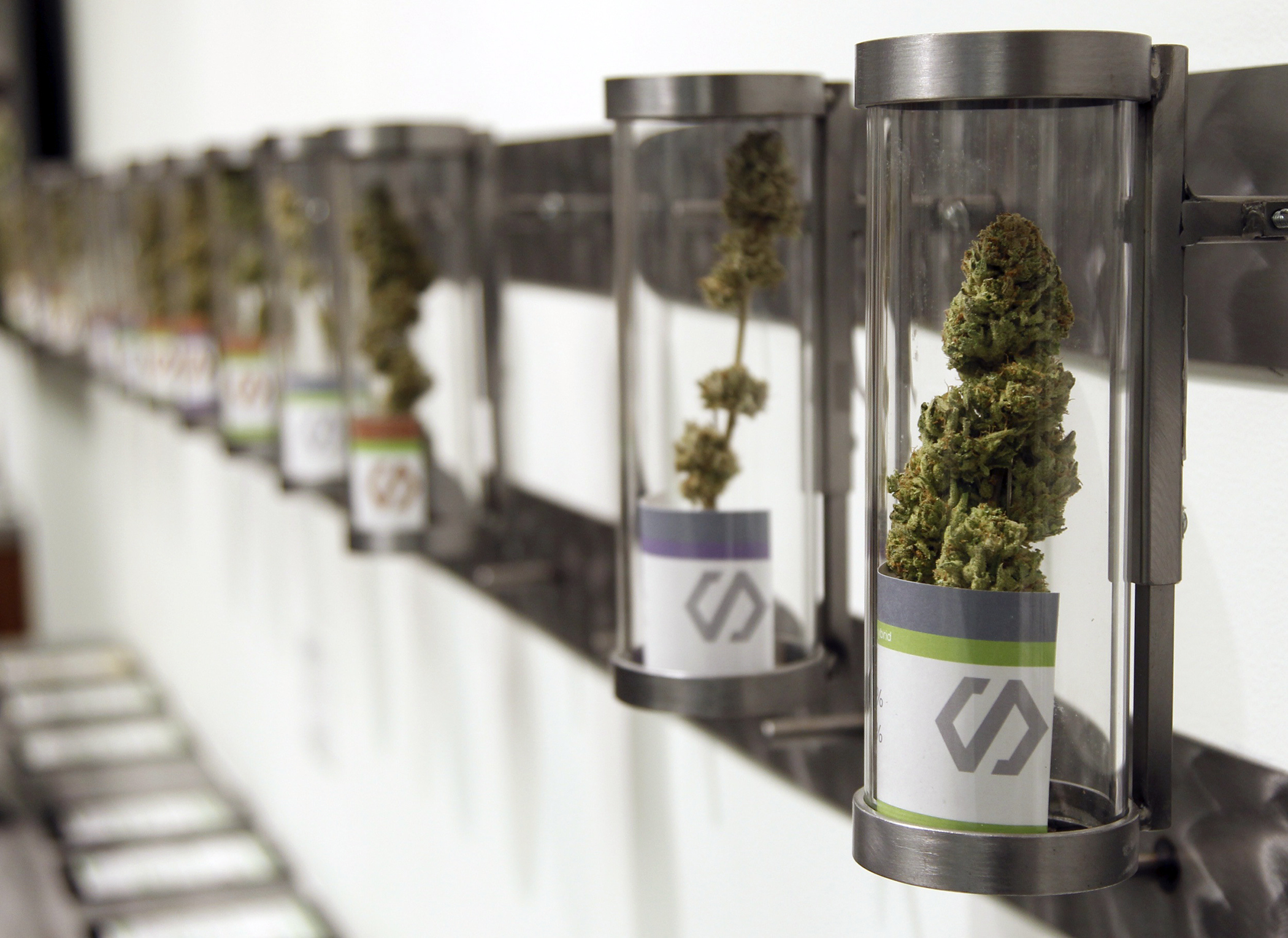 Displays at Shango Cannabis, a legal recreational marijuana dispensary in Portland, Oregon.