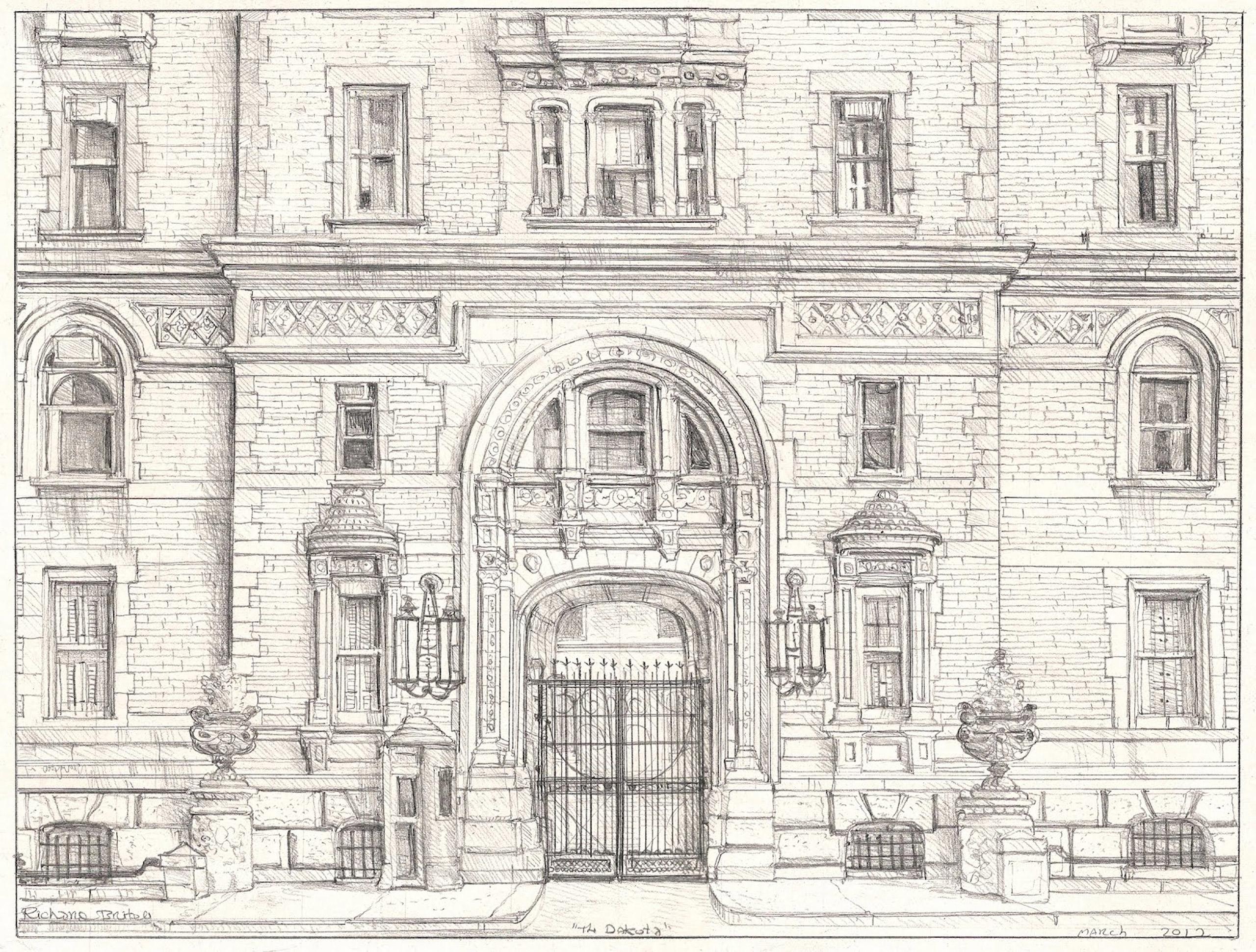 Pencil drawing of the Dakota entrance by Richard Britell.