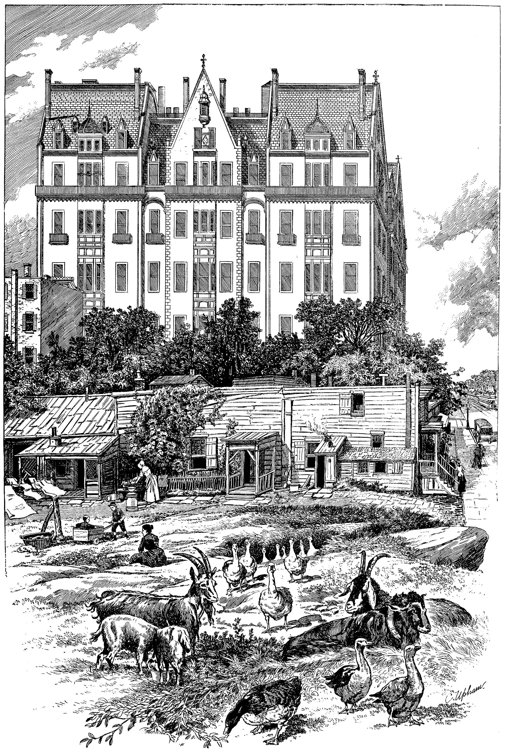 A romanticized drawing of the Dakota from 1889