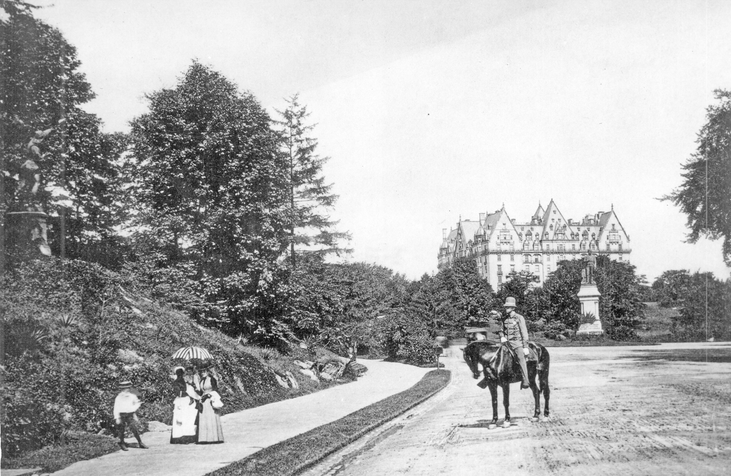 Prior to 1891 when the Hotel Majestic was begun across the street. The statue of Daniel Webster that can be seen in the photo is still there in Central Park today.