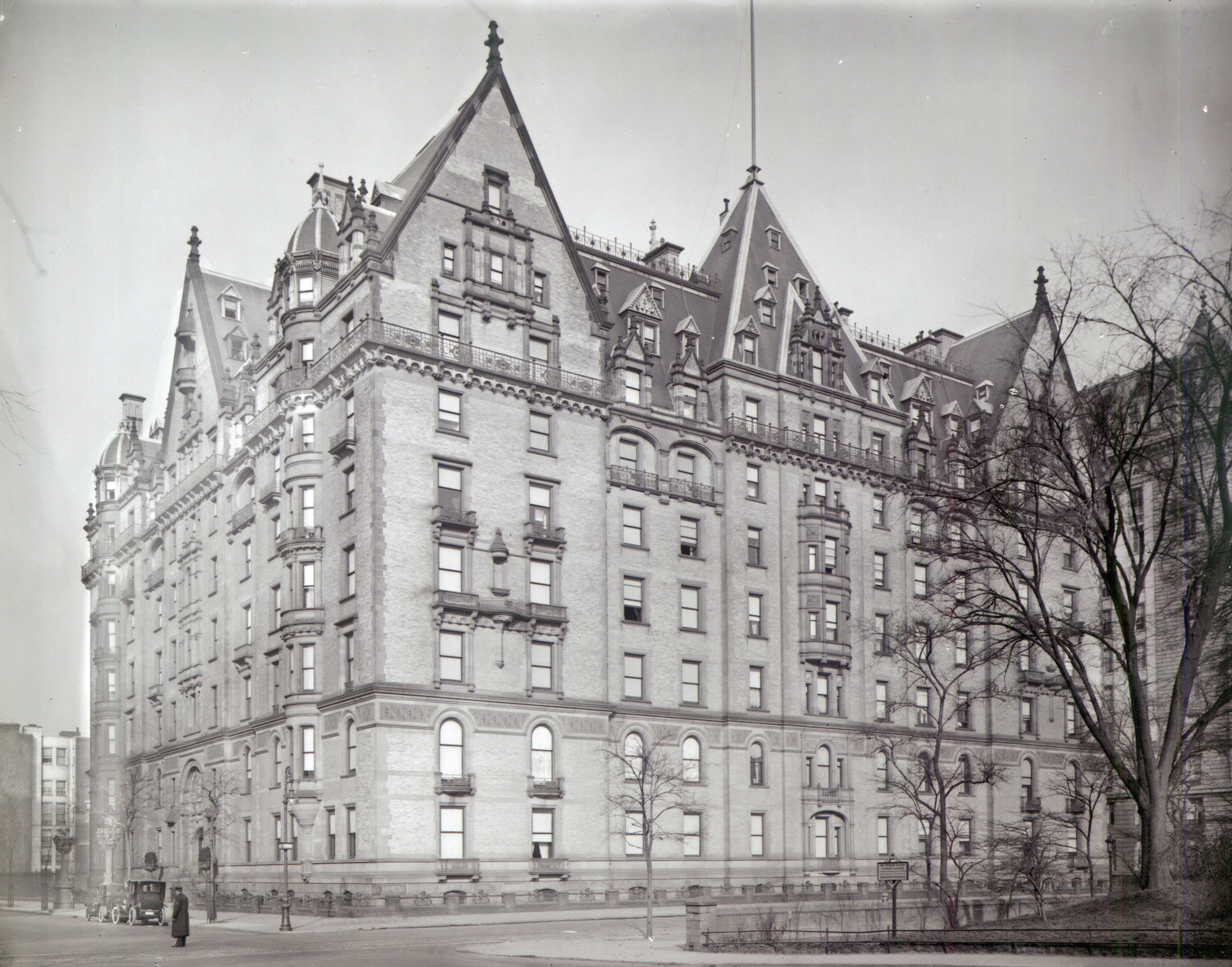 The photograph can be dated to about 1910 by the automobiles at the curb, and by the presence of the Langham Apartmentsat 135 Central Park West between 73rd and 74th Streets, which was completed in 1906.