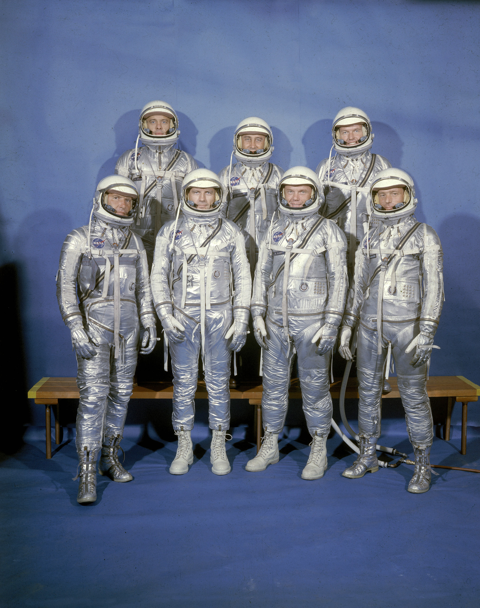 Don a faux pressure suit and pay tribute to the Project Mercury astronauts (clockwise from top left): Alan Shepard, Virgil Grissom, Leroy Cooper, Malcolm Carpenter, John Glenn, Donald Slayton and Walter Schirra, 1959.