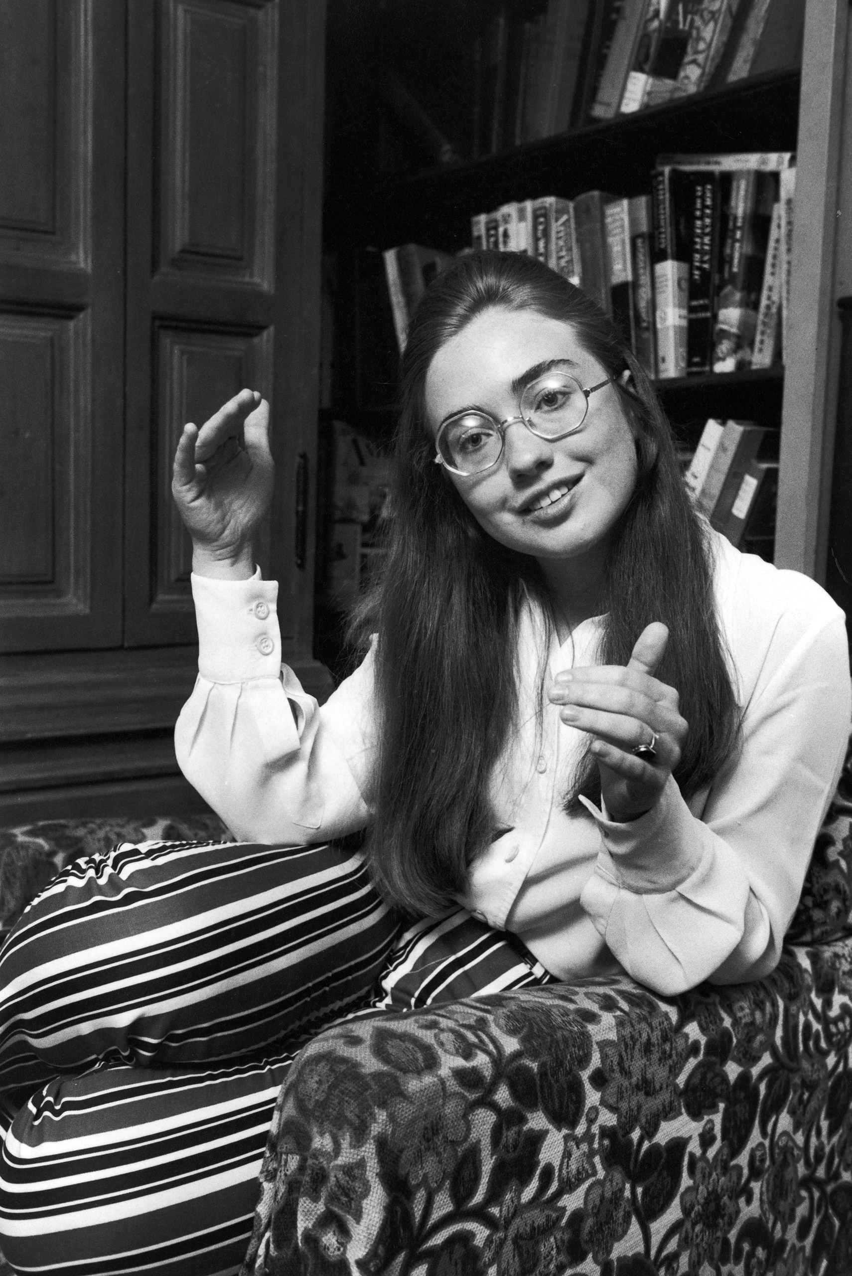 Channel Hillary Clinton's days as a Wellesley College undergrad (and as a Rodham), pictured in 1969, with big specs and striped trousers.