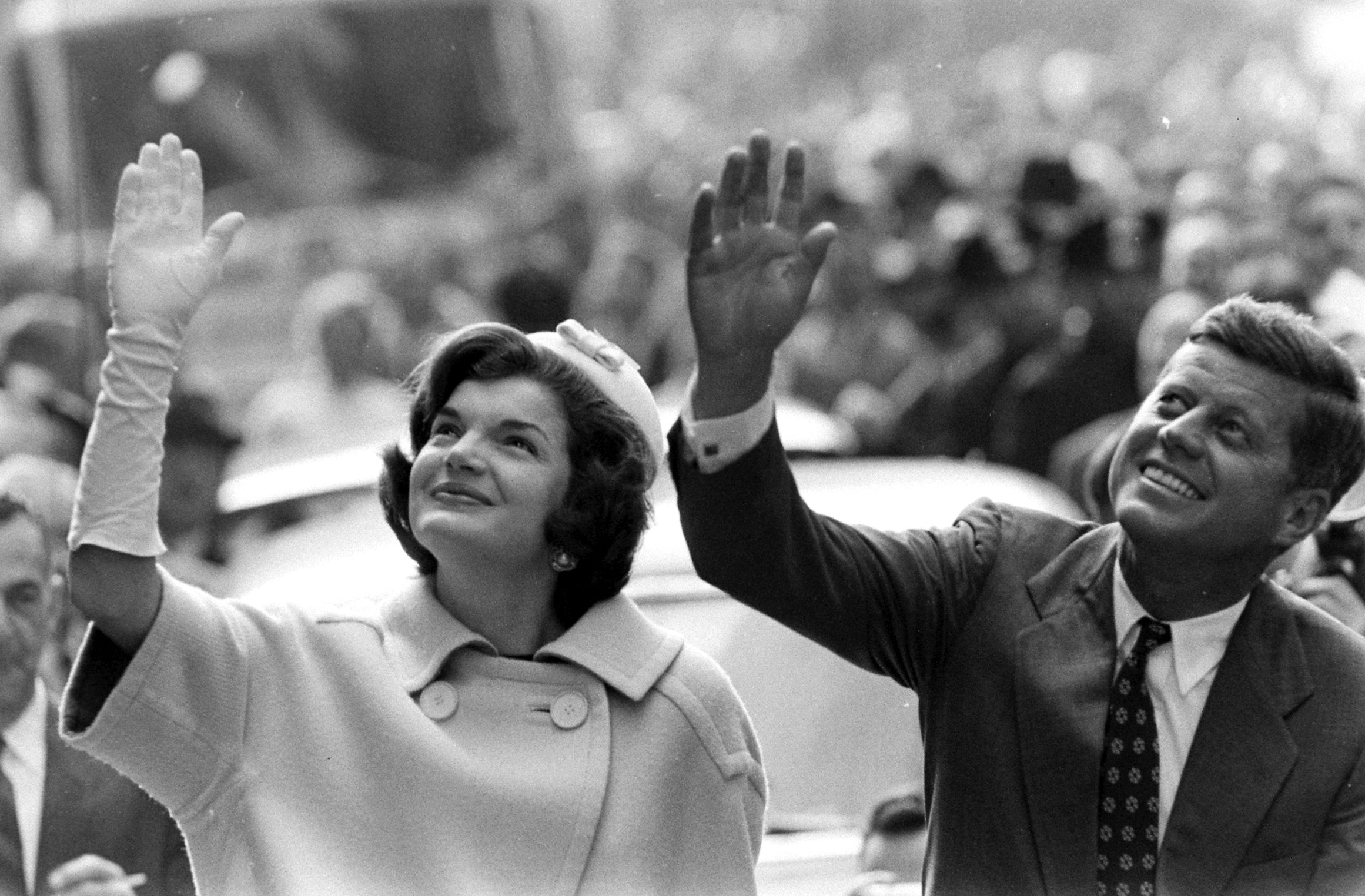 Find a mate and a pillbox hat to go as one of history's most famous couples, First Lady Jackie Kennedy and President John F. Kennedy, pictured on the campaign trail in 1960.