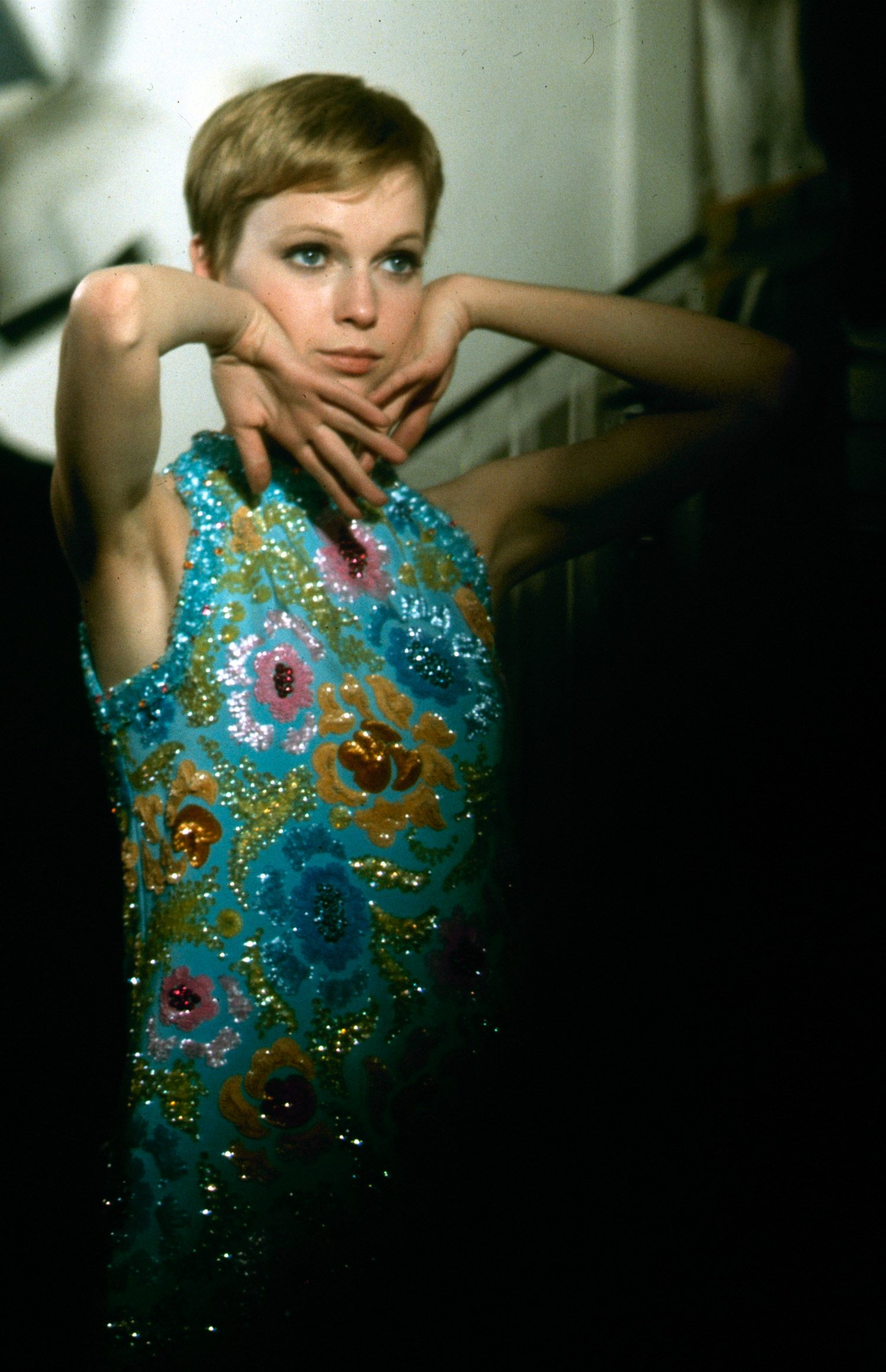 """Channel Mia Farrow's pixie cut, flowered sequin dress and coquettish look from the 1968 British spy film """"A Dandy in Aspic."""""""