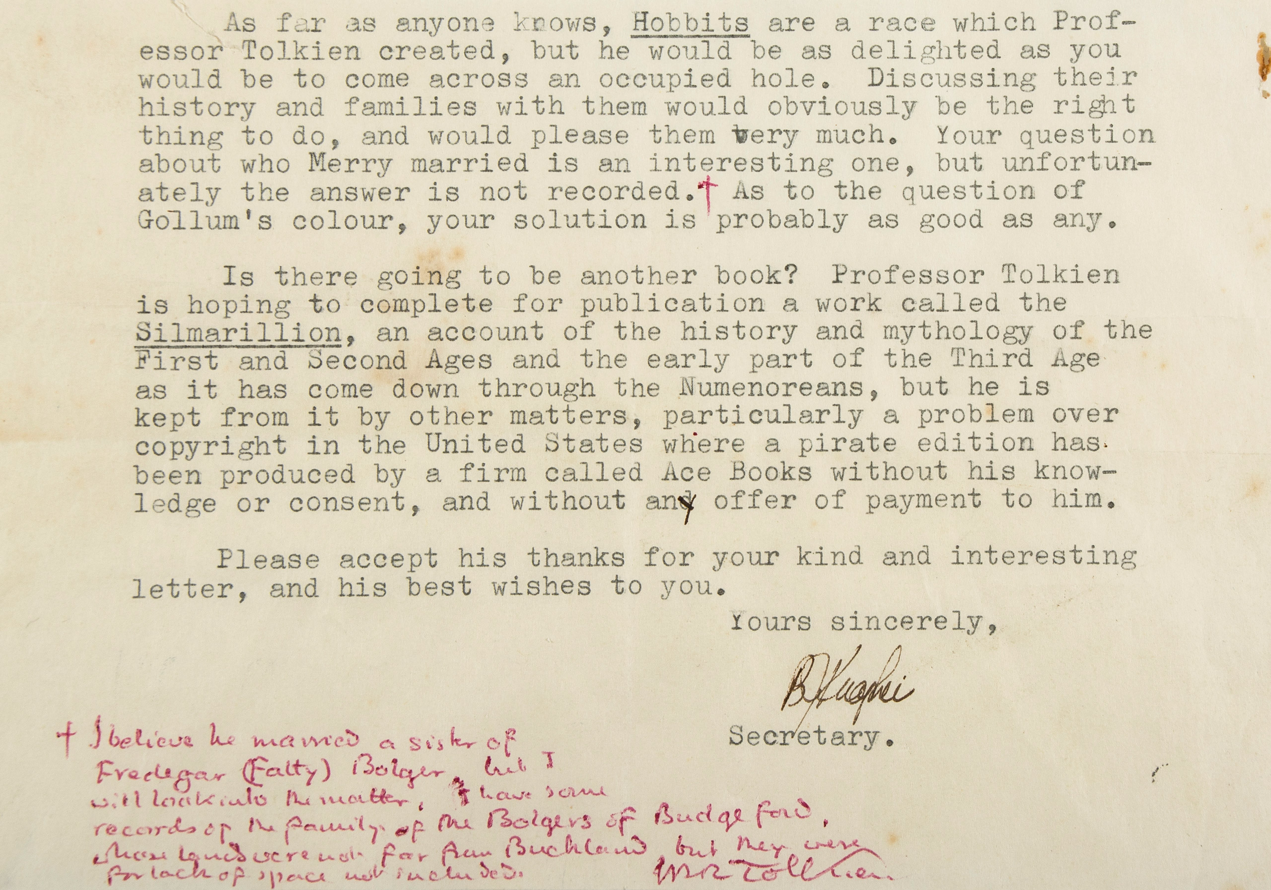Typed letter signed by Tolkien's secretary on behalf of Tolkien.