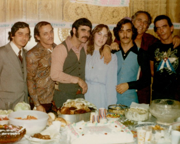 From left to right, unknown, Juanito, Silvio, Cira (Sira Gonzalez's daughter), Jorge, Manuel Gonzalez, Pepe. The family reunited frequently for birthday parties and holidays at the London Street house.