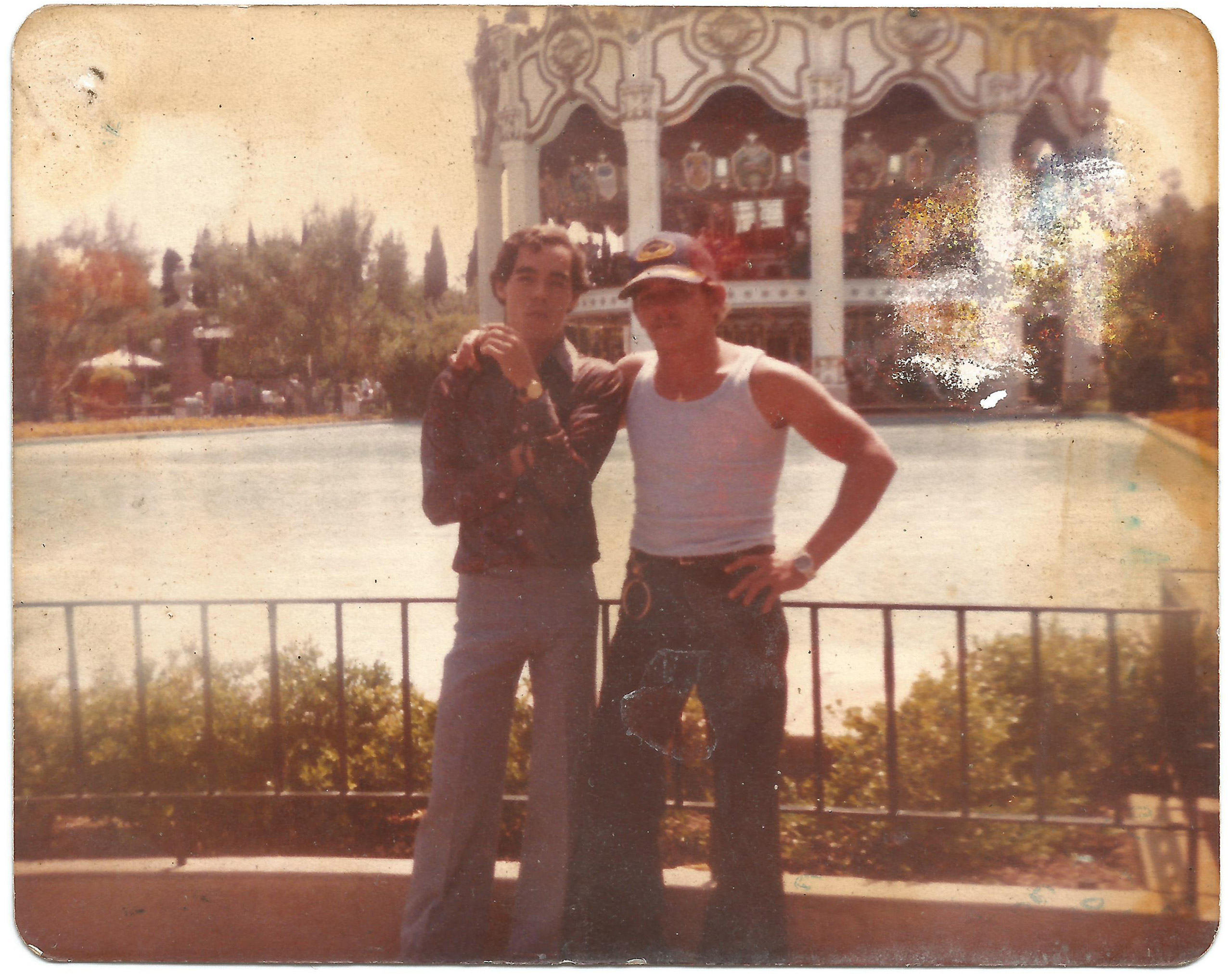 Brothers Jorge (left) and Juanito (right) in California. Juanito constantly sent photos and letters to Cuba for his wife and children. This photo came with a dedication on the back that read:  To Mileidys and Juan Alberto from your daddy, I love you very much. June 9, 1980