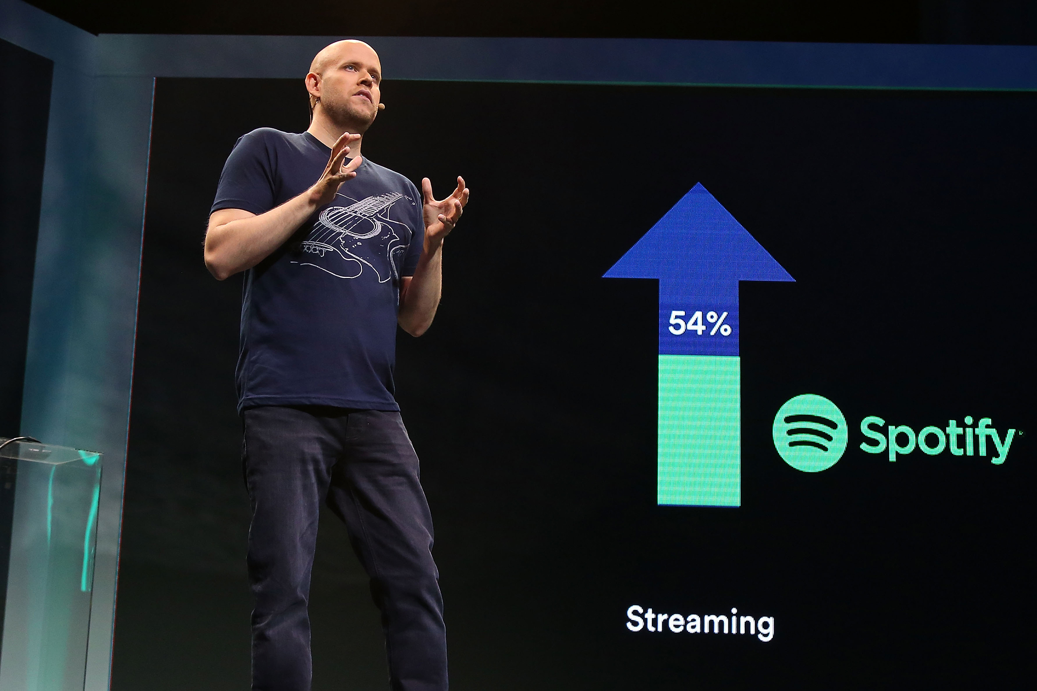 Spotify founder Daniel Ek speaks during the Spotify New Platform Launch at S.I.R. Studios on May 20, 2015 in New York City.