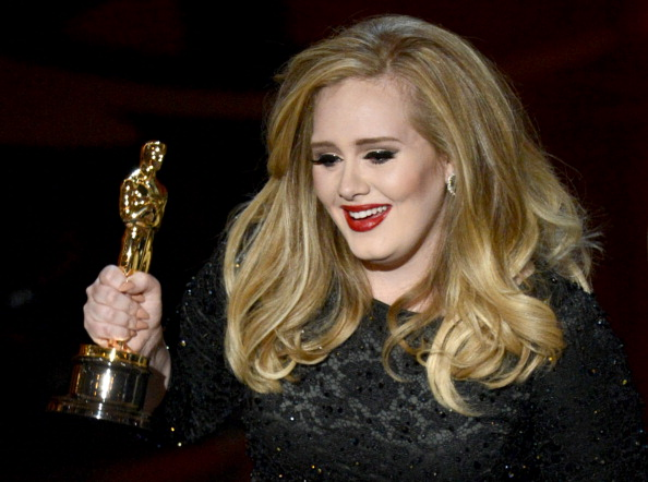 Singer Adele Adkins accepts the Best Original Song award for Skyfall from  Skyfall  onstage during the Oscars held at the Dolby Theatre on February 24, 2013 in Hollywood, California