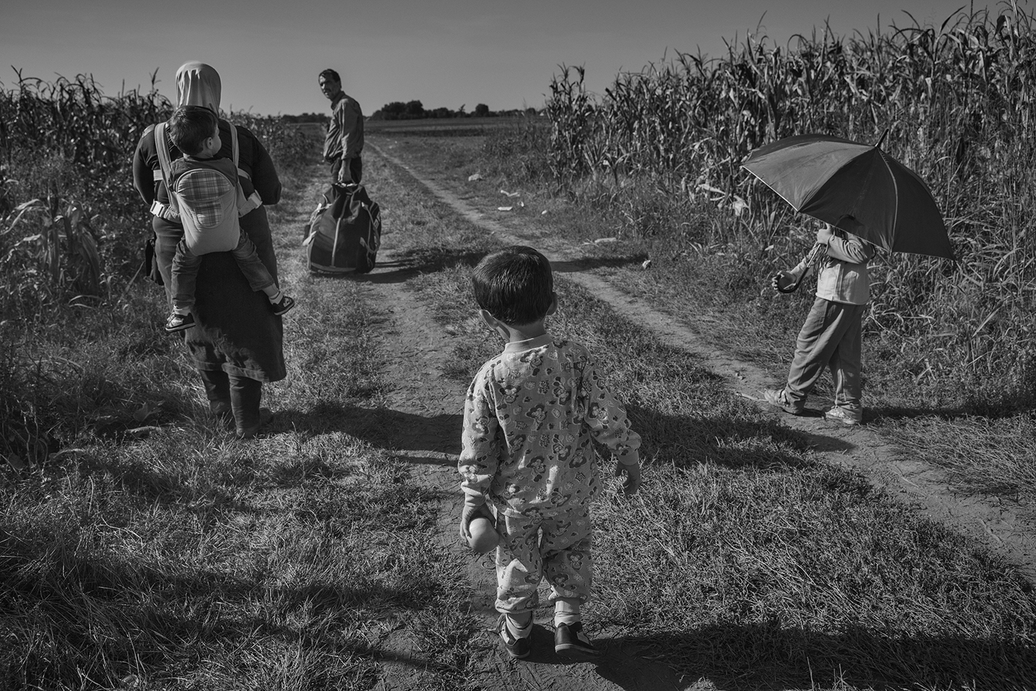 A family walks in the no man's land between Serbia and Croatia, towards the train station in Tovarnik, Croatia, Sept. 18, 2015
