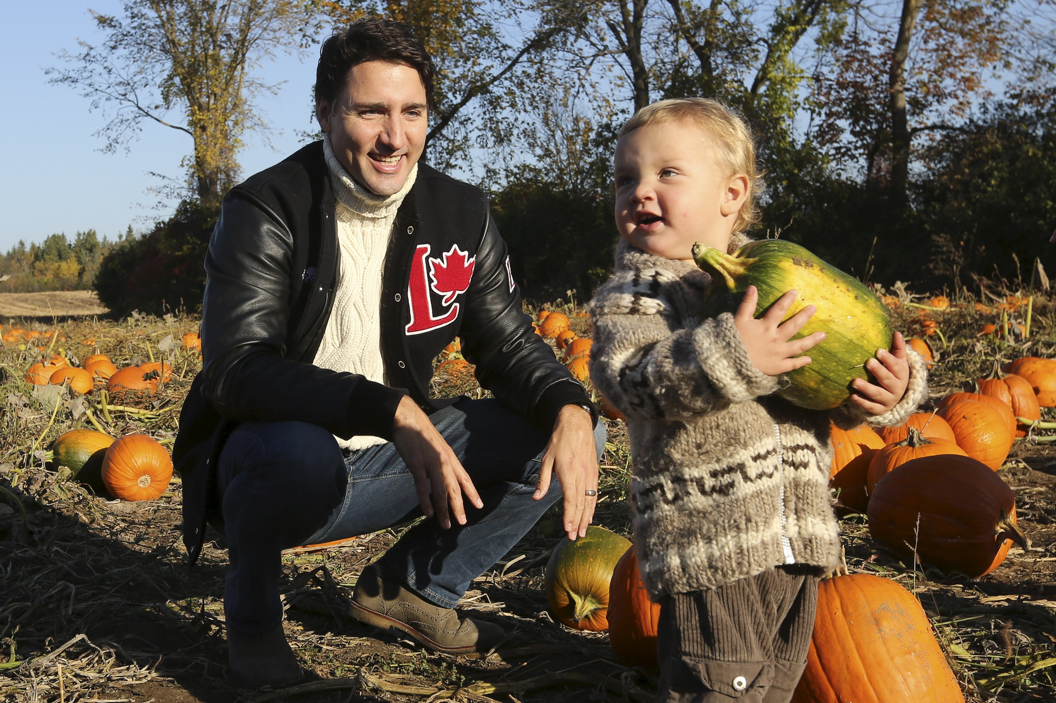 Justin Trudeau and his son Hadrien in Gatineau, Quebec in 2015.