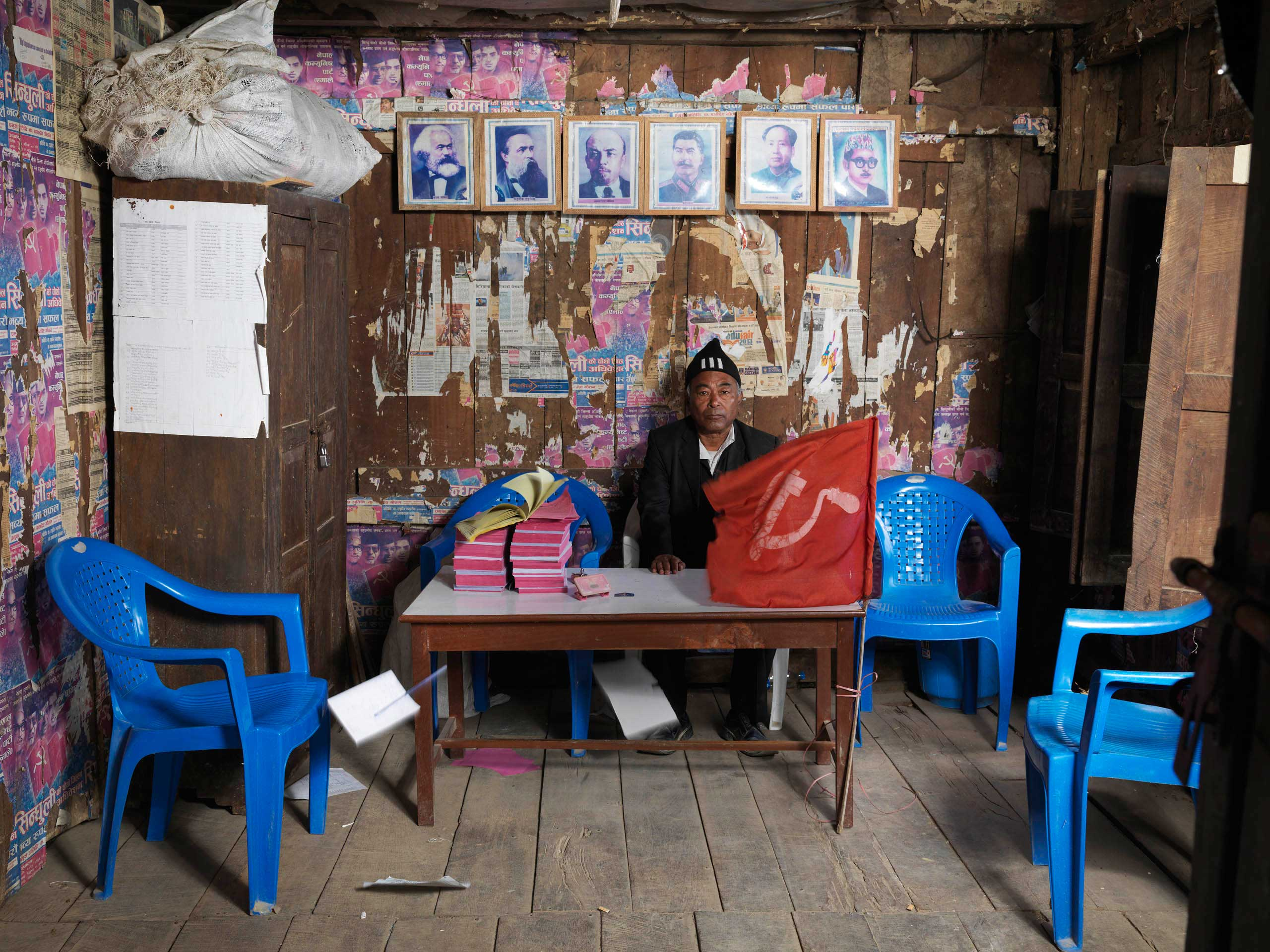 Office secretary and Central Committee member Lila Shrestha in the Sindhuli district office, Sindhuli town in Nepal. CPN (Marxist), a marginal party which did not win seats in the 2013 elections.