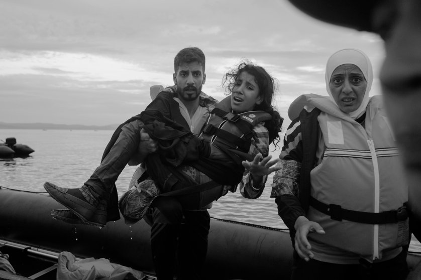 Refugees from Syria, Afghanistan, Pakistan, Somalia cross the sea between Turkey and Greece by means of inflatable pontoon rafts to the island of Lesbos as the first step in making their way across Europe.by James Nachtwey