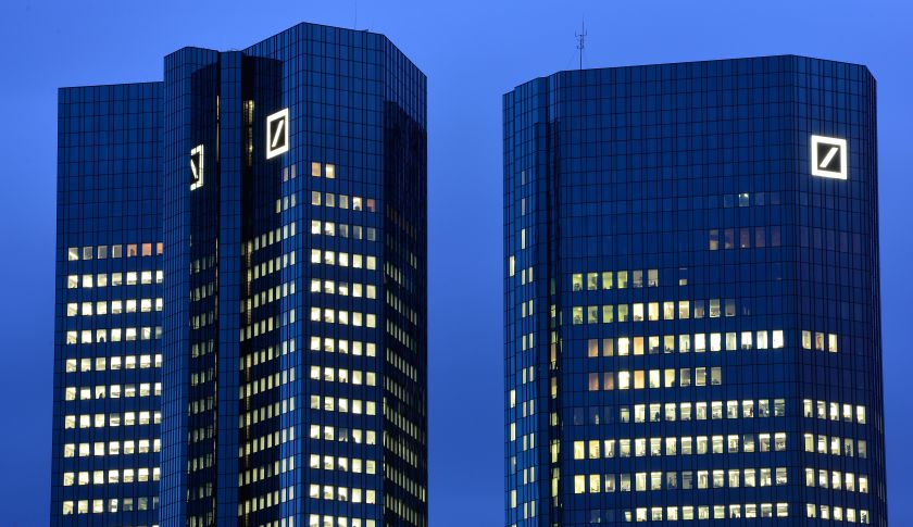 The Deutsche Bank headquarters in Frankfurt, Germany.