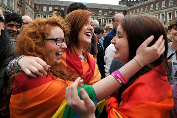 People celebrate a landslide victory of a Yes vote after a referendum on same-sex marriage was won by popular ballot vote by a margin of around 2 to 1 on May 23, 2015, in Dublin