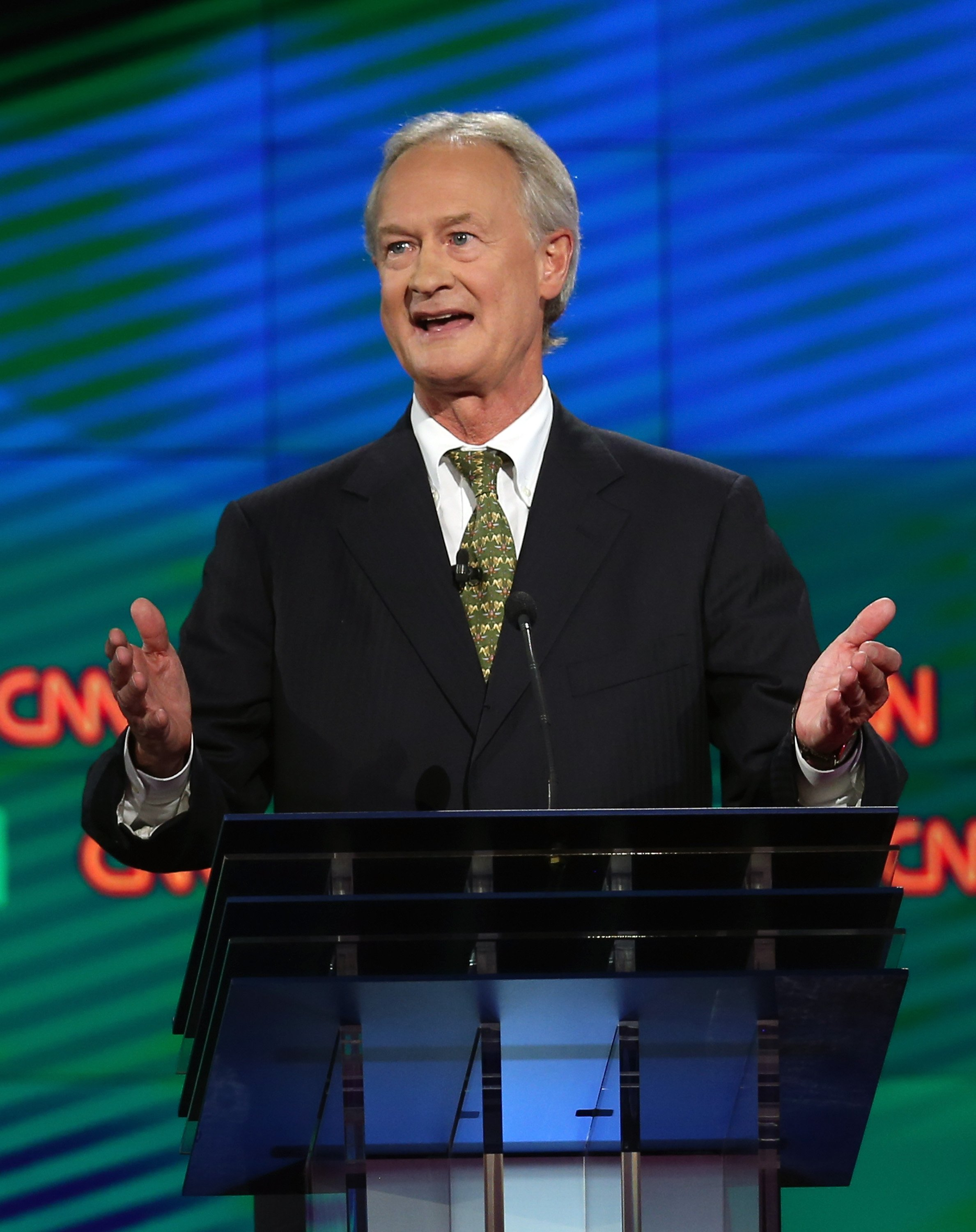 Lincoln Chafee takes part in a presidential debate sponsored by CNN and Facebook at Wynn Las Vegas on Oct.13, 2015 in Las Vegas.