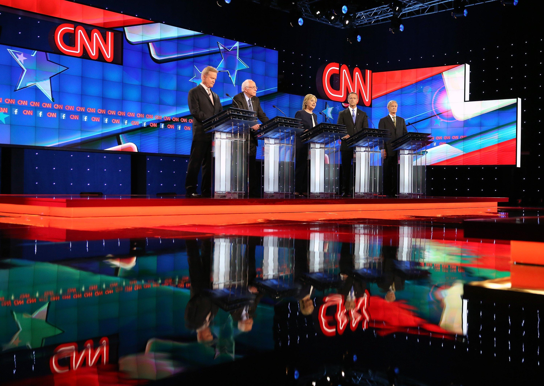 Jim Webb, Sen. Bernie Sanders (I-VT), Hillary Clinton, Martin O'Malley and Lincoln Chafee take part in presidential debate sponsored by CNN and Facebook at Wynn Las Vegas on October 13, 2015 in Las Vegas, Nevada.