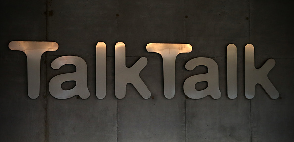 Signage is pictured on the exterior of the headquarters for the TalkTalk telecommunications company on Oct. 23, 2015, in London