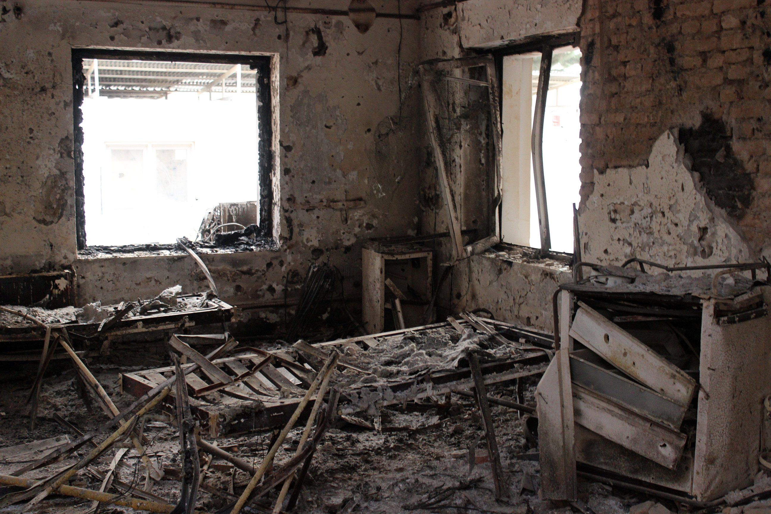 The charred remains of the Doctors Without Borders hospital on Oct. 16, 2015 in Kunduz, Afganistan