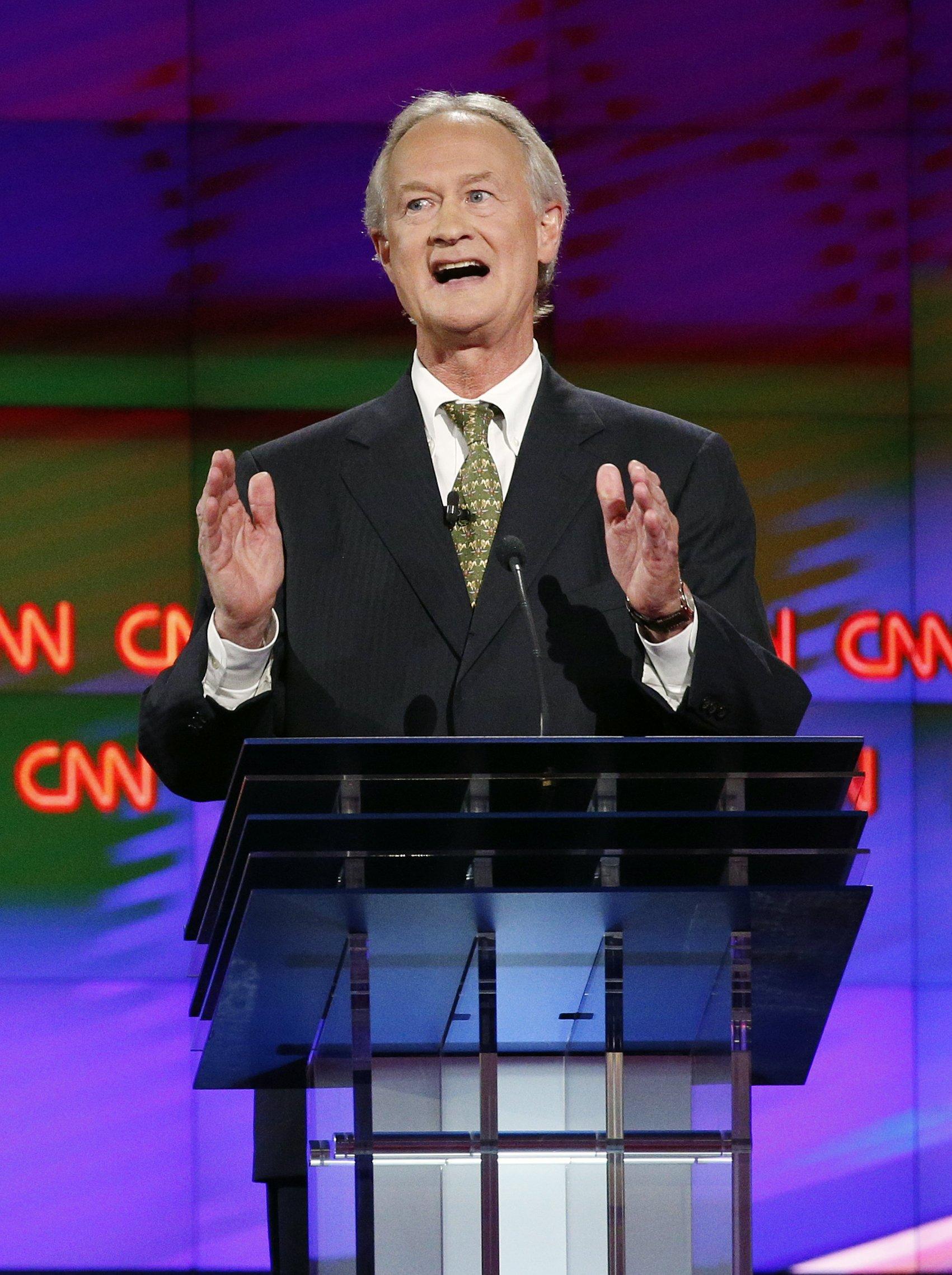 Former Rhode Island Gov. Lincoln Chafee speaks during the CNN Democratic presidential debate, on Oct. 13, 2015, in Las Vegas.