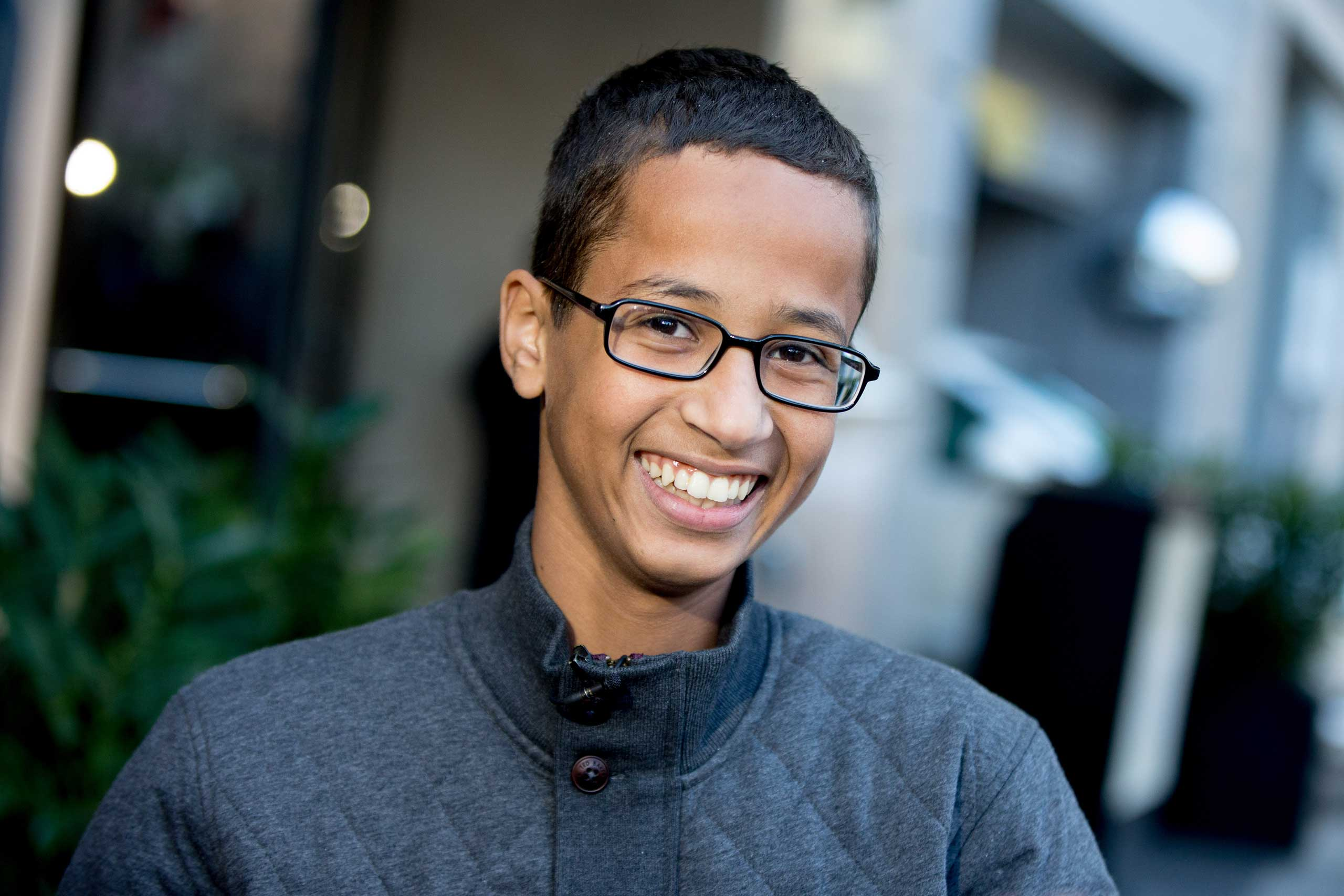 Ahmed Mohamed, the 14-year-old who was arrested at MacArthur High School in Irving, Texas for allegedly bringing a hoax bomb to school, speaks during an interview with the Associated Press, in Washington, Oct. 19, 2015.