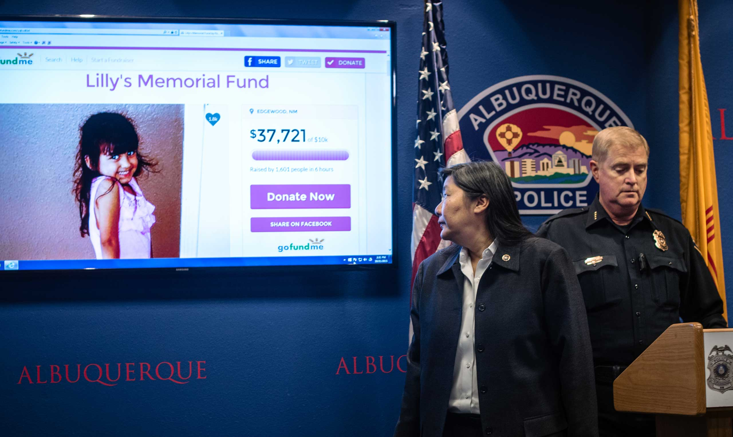 FBI special agent in charge Carol  Lee, and Albuquerque Police Department Chief Gorden Eden address the media regarding the recent road-rage incident where four-year-old Lilly Garcia was shot in Albuquerque, N.M., on Oct. 21, 2015. P
