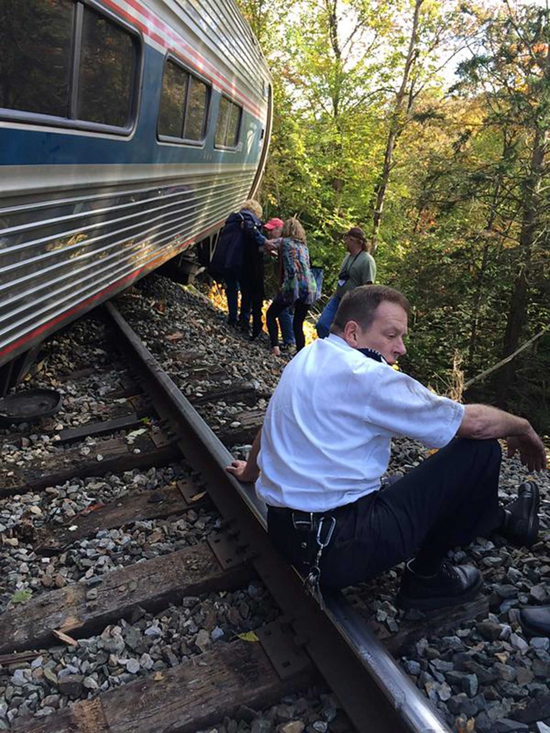 In this image released by BrianABELL1980 via Twitter and used with permission showing the scene after an Amtrak train derailed, reportedly after hitting a rockslide, near Northfield, Vermont, Oct. 5, 2015.
