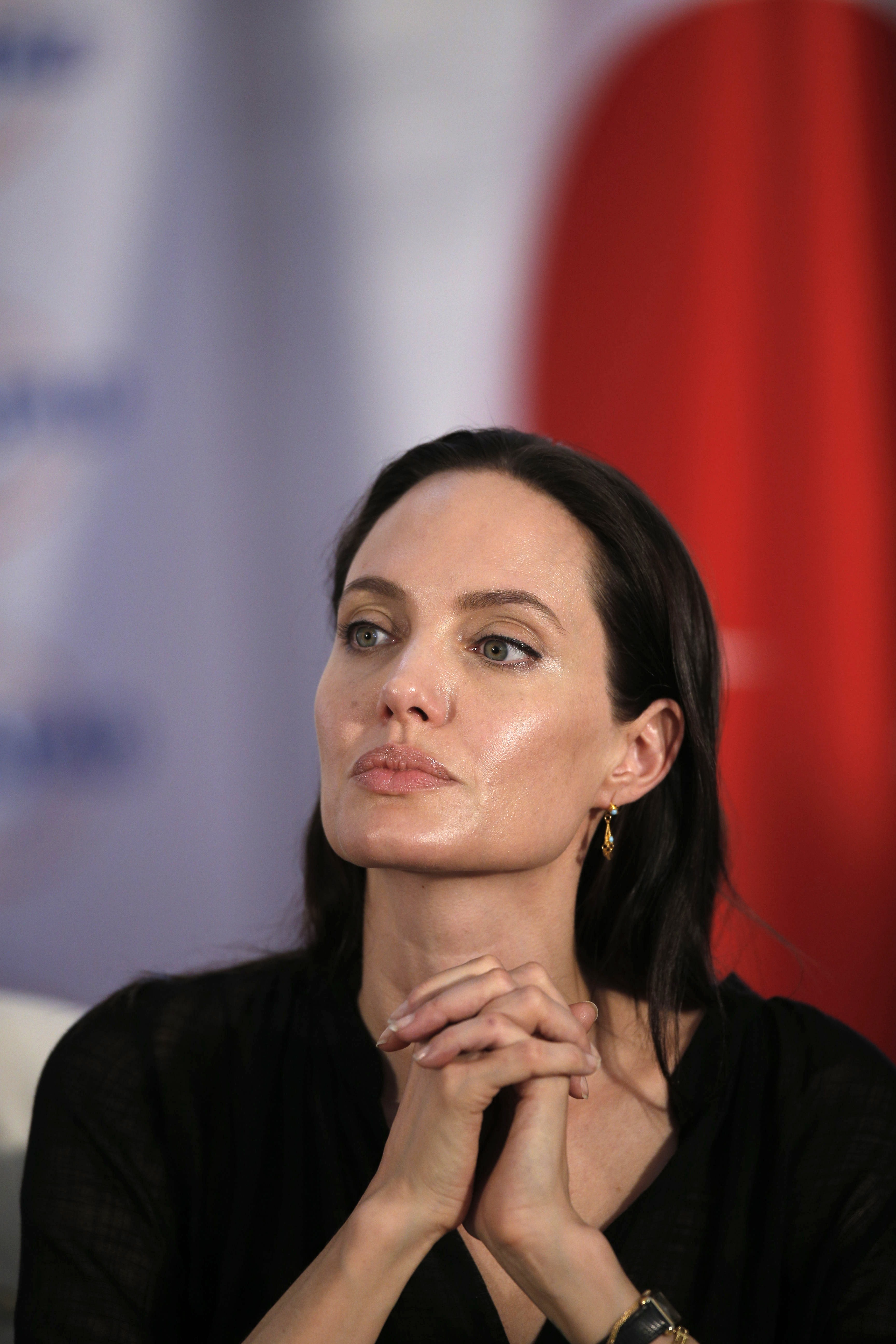 Angelina Jolie at a press conference in Mardin, Turkey on June 20, 2015.