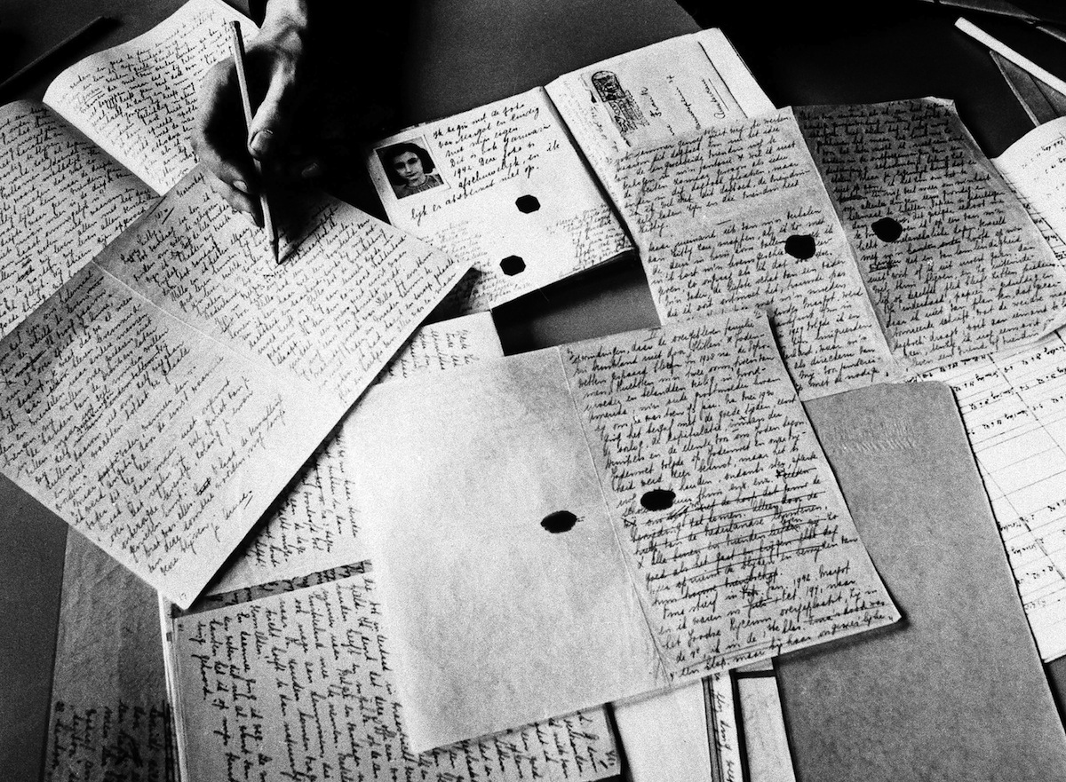 Copies of Anne Frank's diary photographed in Amsterdam, Feb. 23, 1981,  at the Dutch War Documentation Centre,