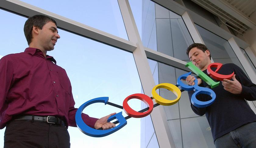 Google co-founders Larry Page, left, and Sergey Brin at the company's headquarters in Mountain View, Calif.